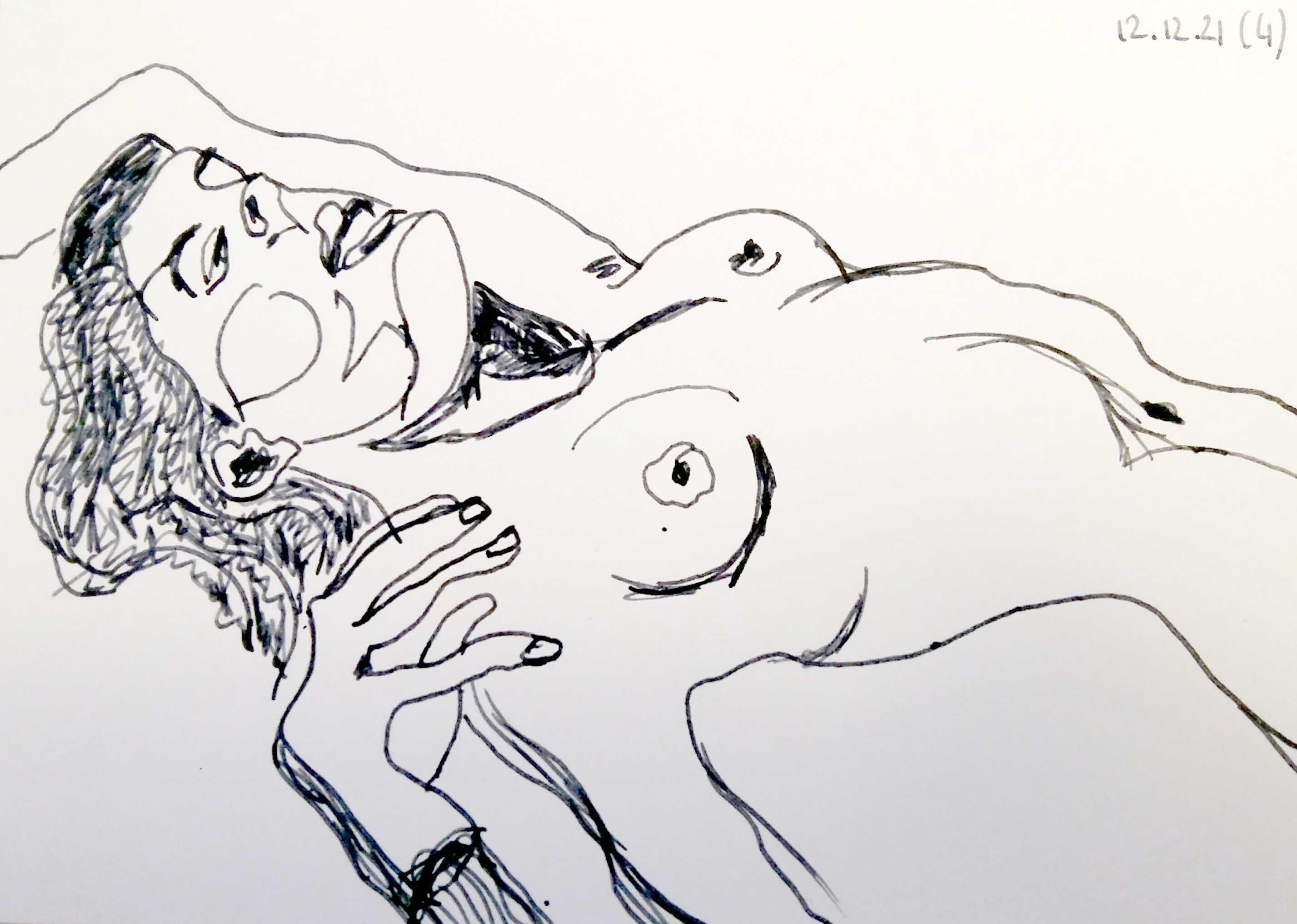 Dessin feutre portrait buste femme allong� sur papier  cours de dessin