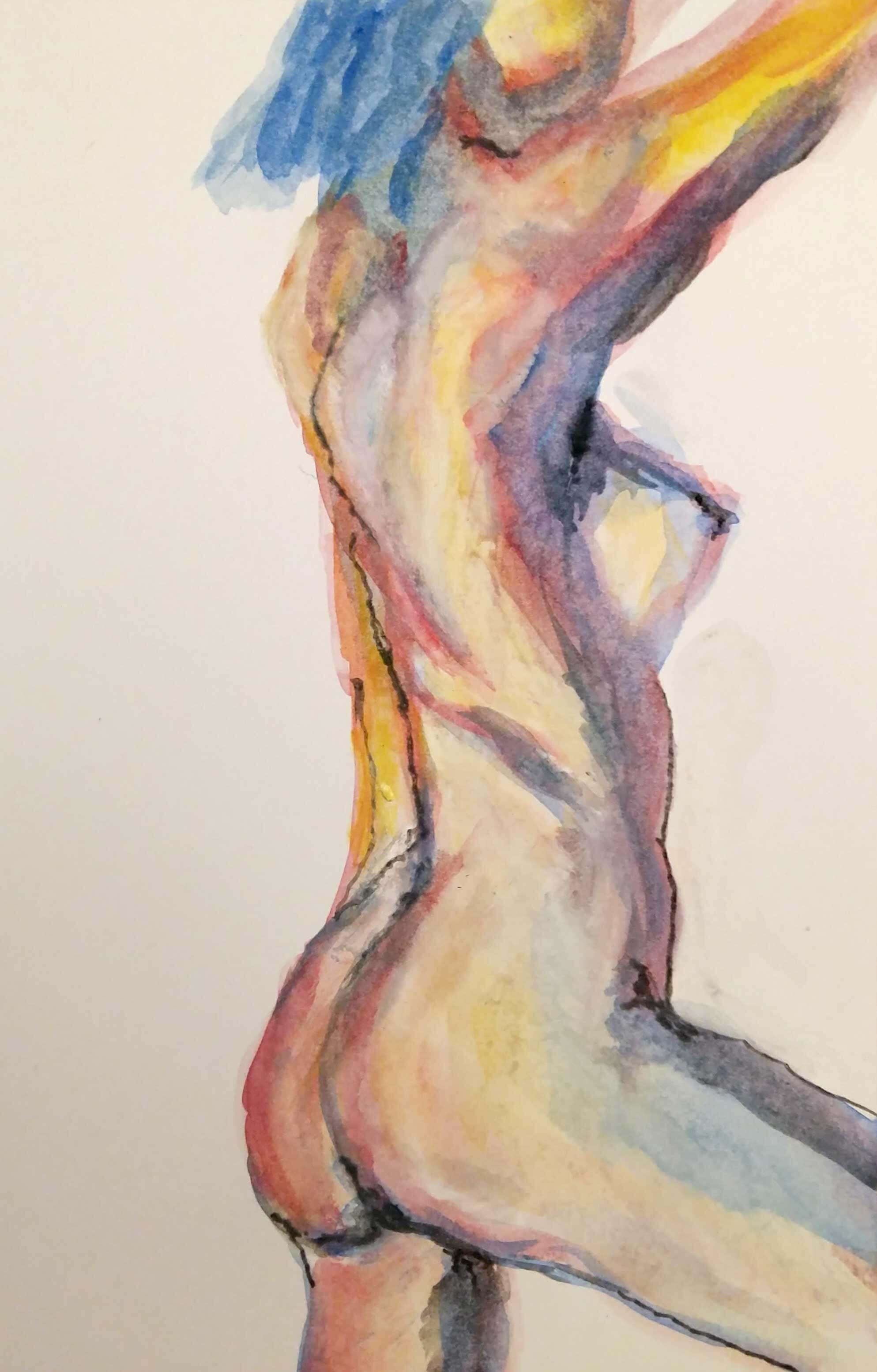 Dessin couleurs buste trois quarts dos femme  cours de dessin