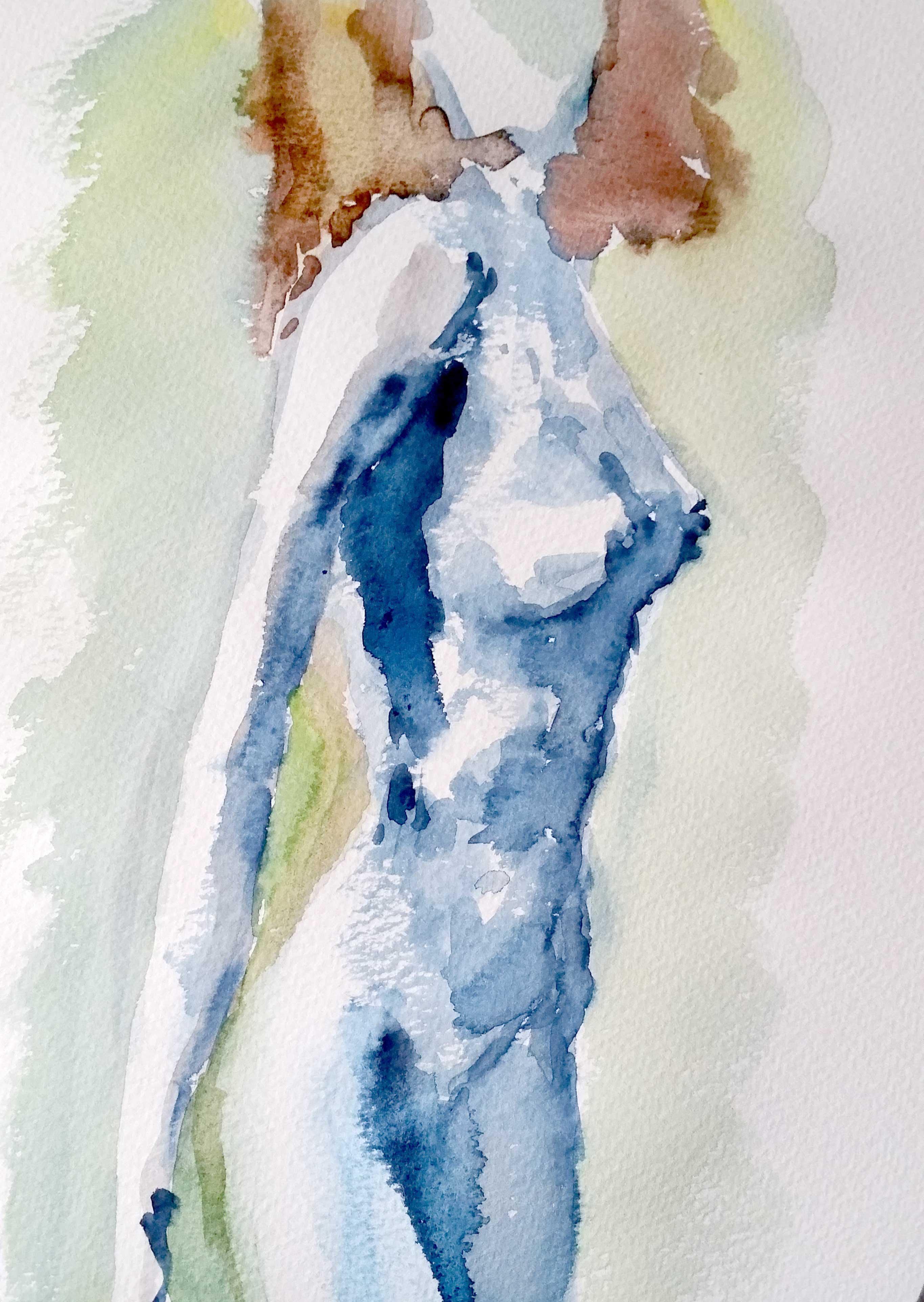 Dessin buste femme aquarelle color� sur papier  cours de dessin