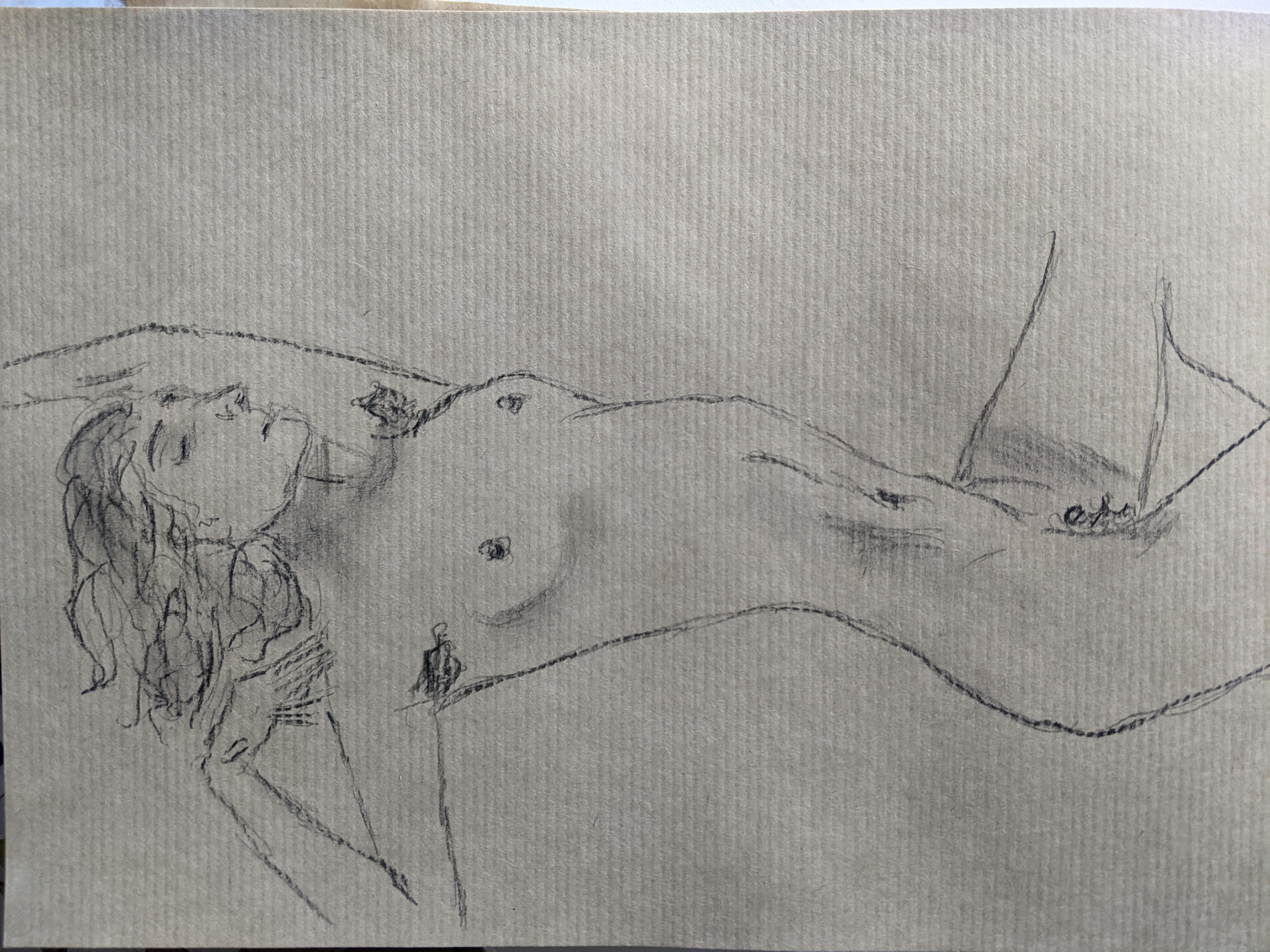 Dessin nu allong� femme portraits graphite sur papier Kraft  cours de dessin