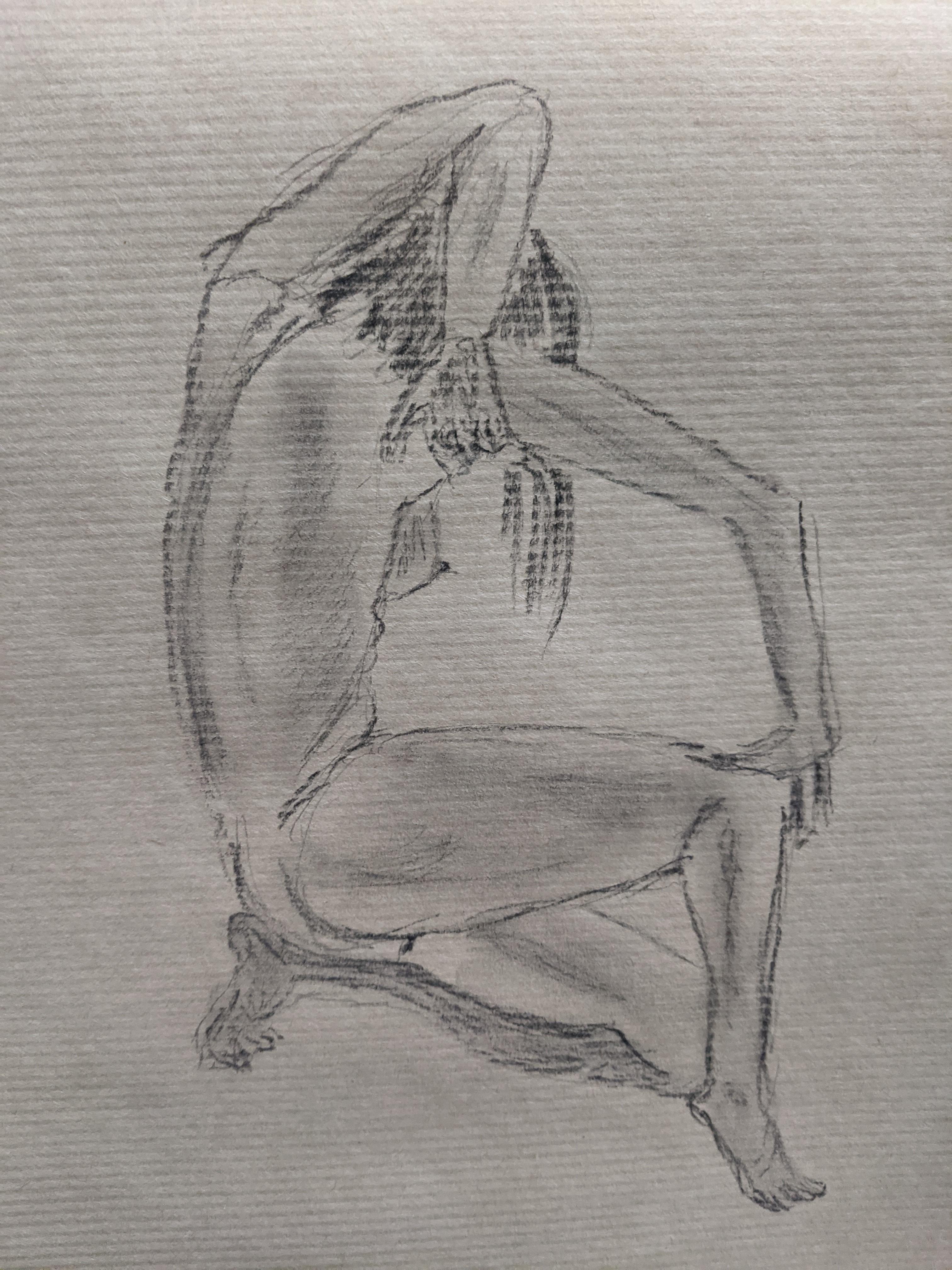 Dessin au trait et en valeur crayon papier sur papier Kraft  cours de dessin