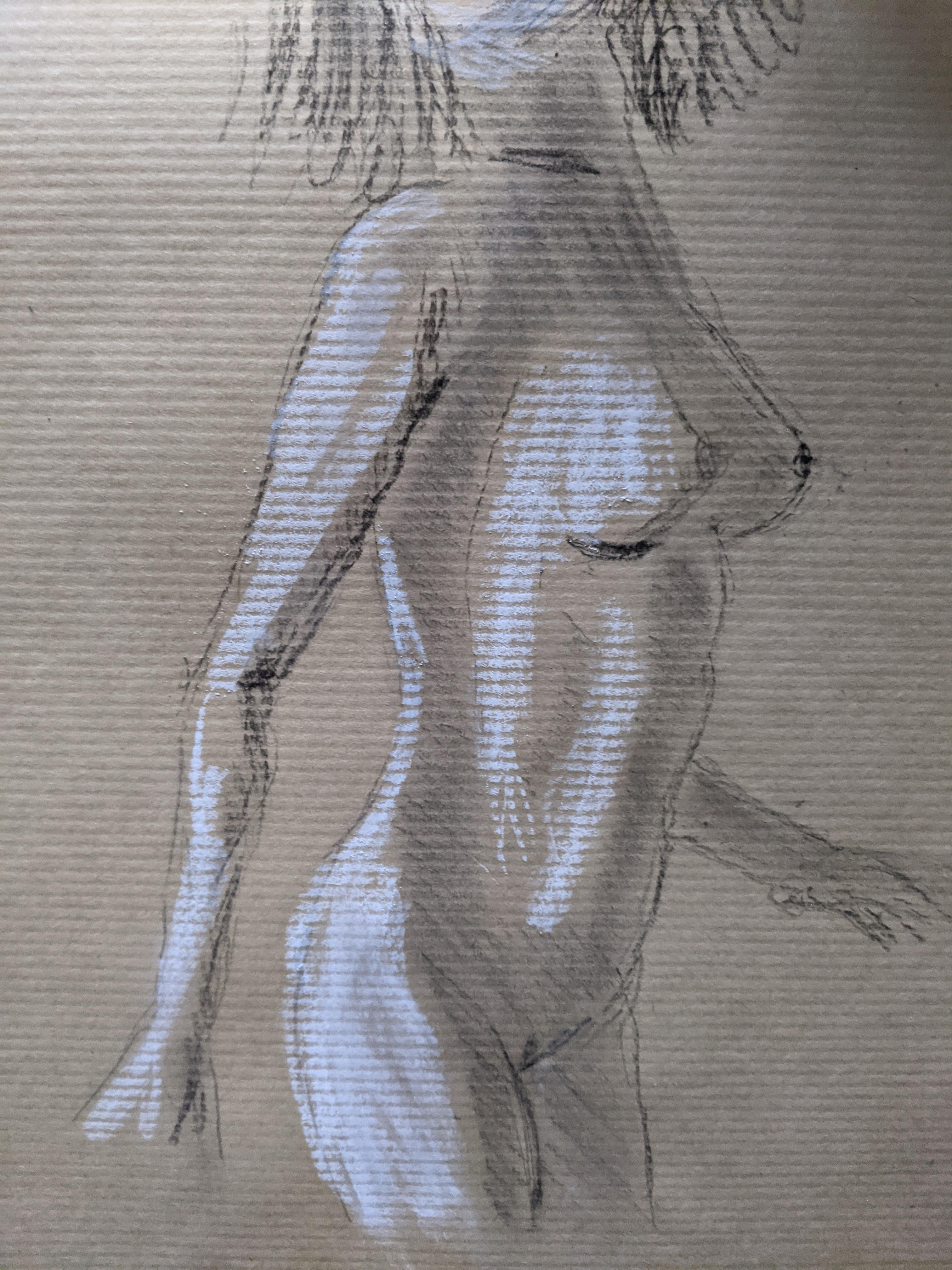 Dessin sur papier Kraft buste 3/4 face  cours de dessin