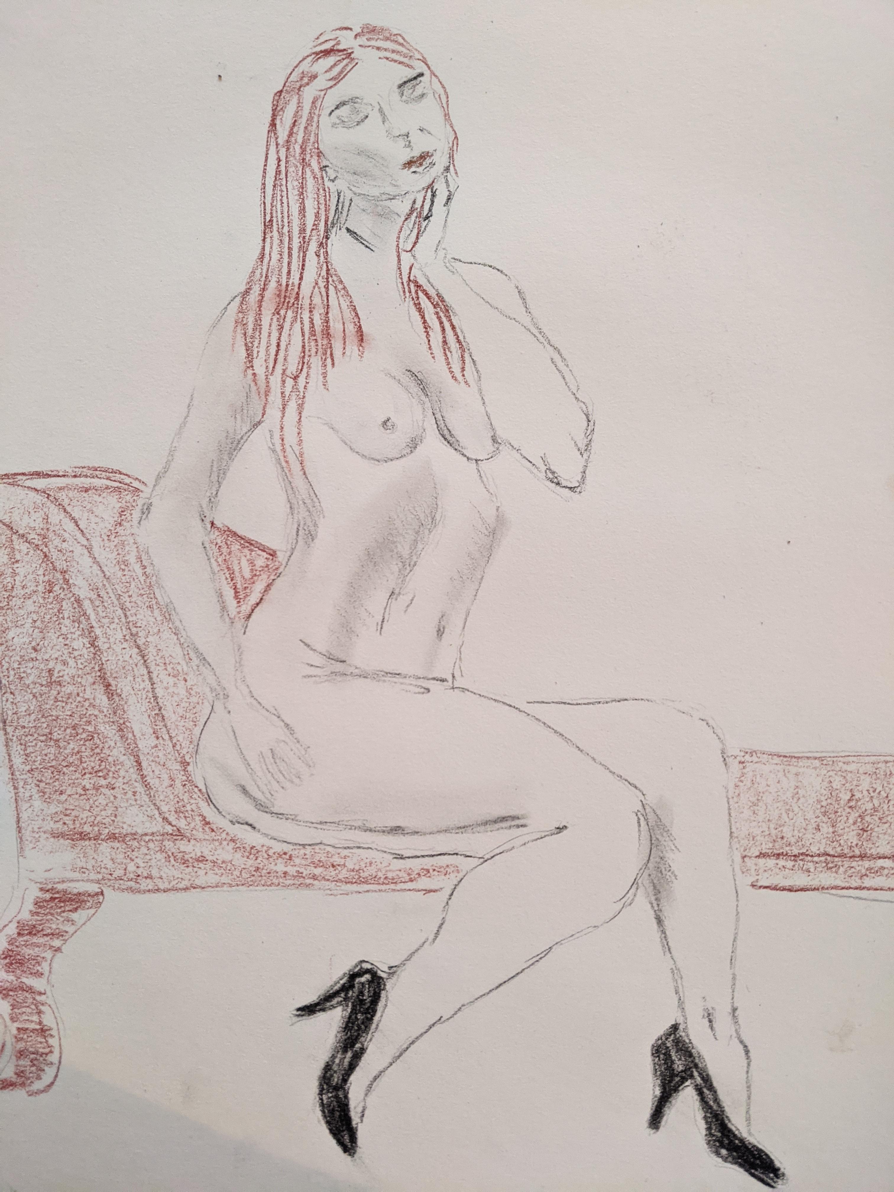 Femme assise dessin craie sanguine et Graphics sur papier  cours de dessin