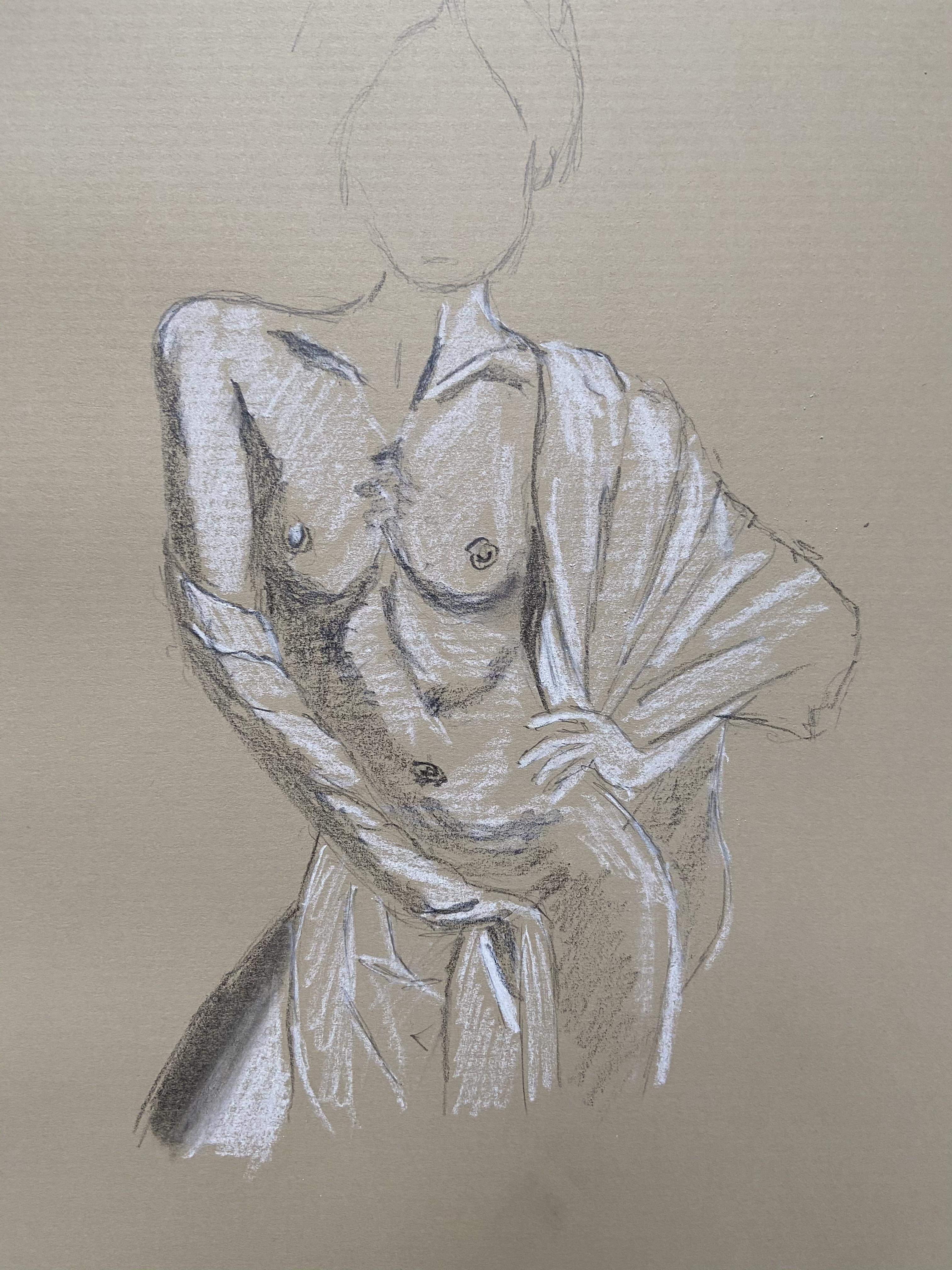 Dessin mod�le vivant pierre noire et craie blanche sur papier color� drap�  cours de dessin