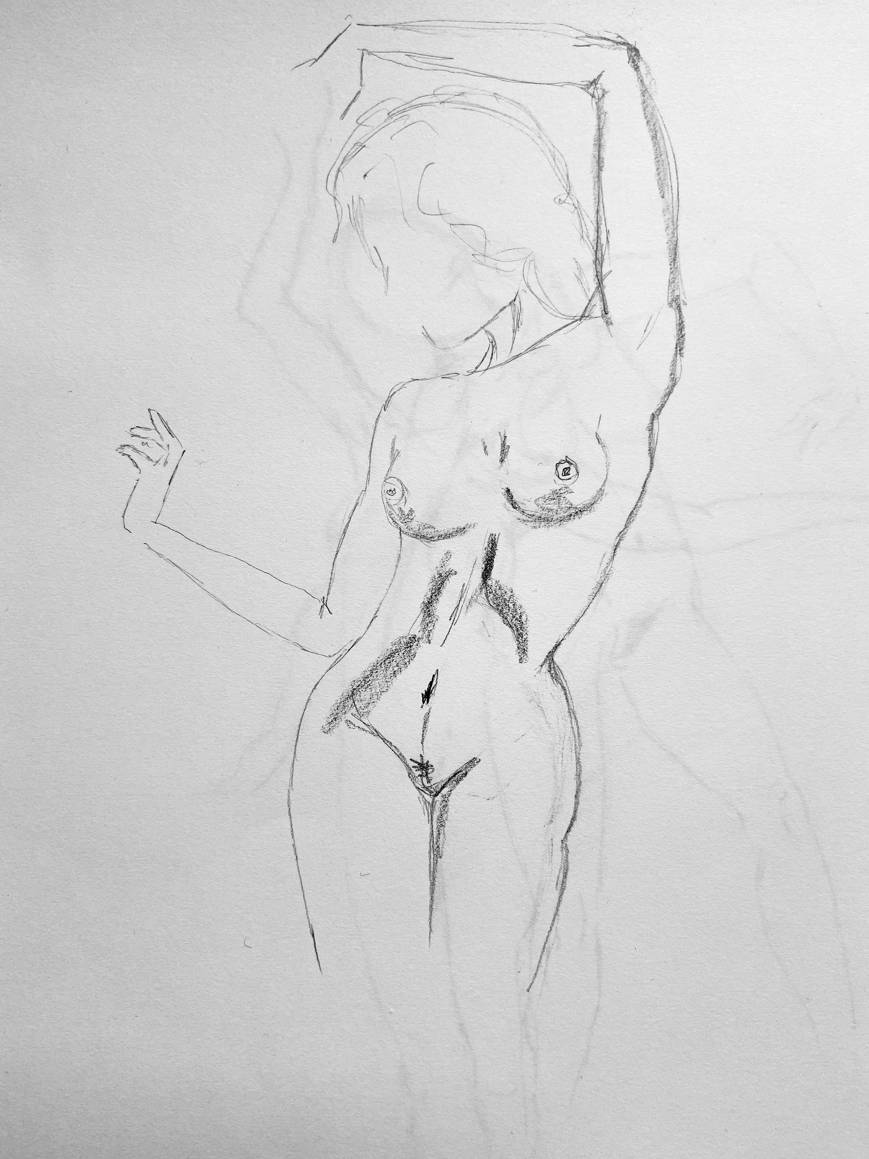 Croquis rapide en valeur femme torse  cours de dessin