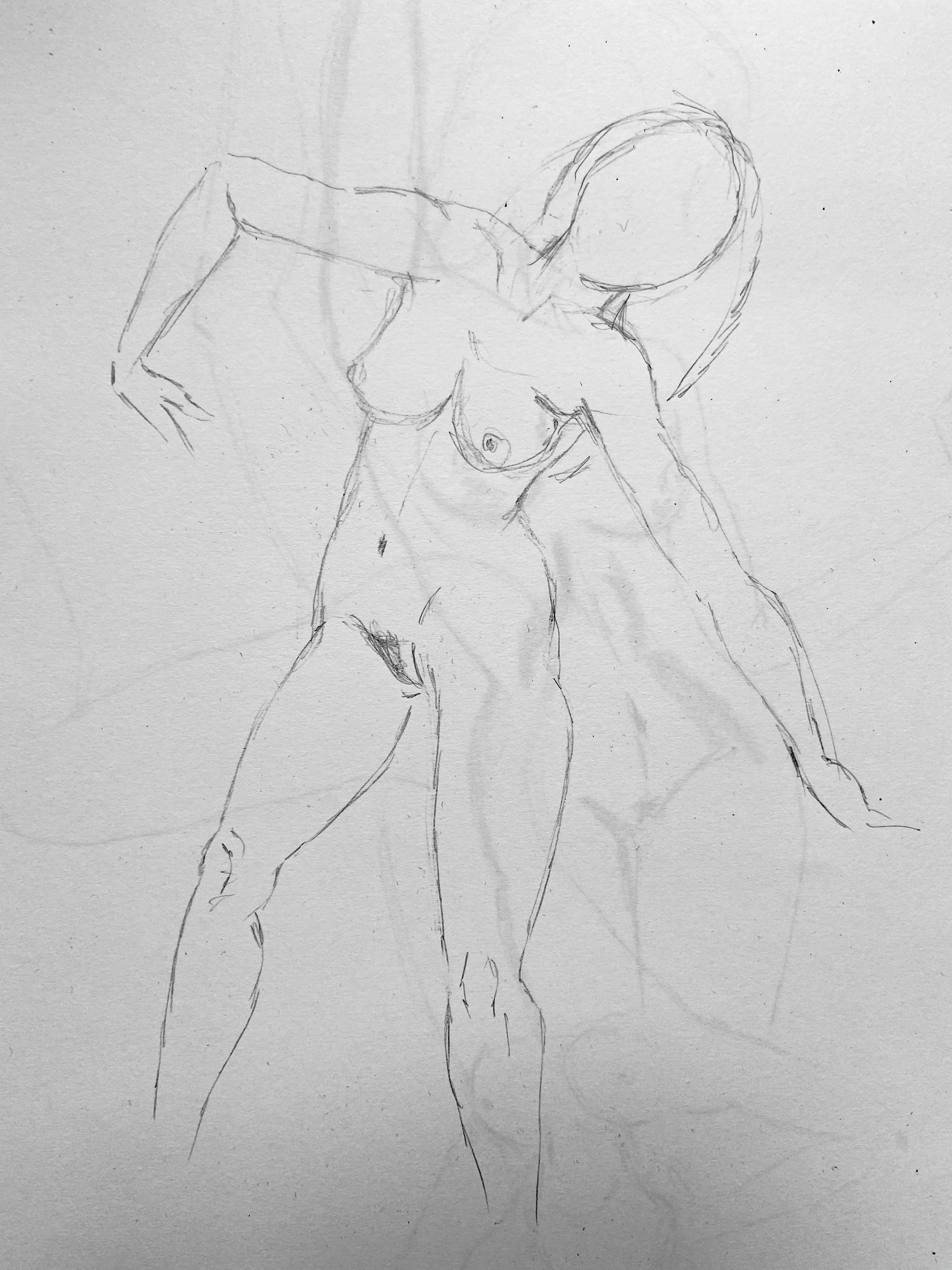 Dessin trois quarts femme danseuse crayon papier  cours de dessin