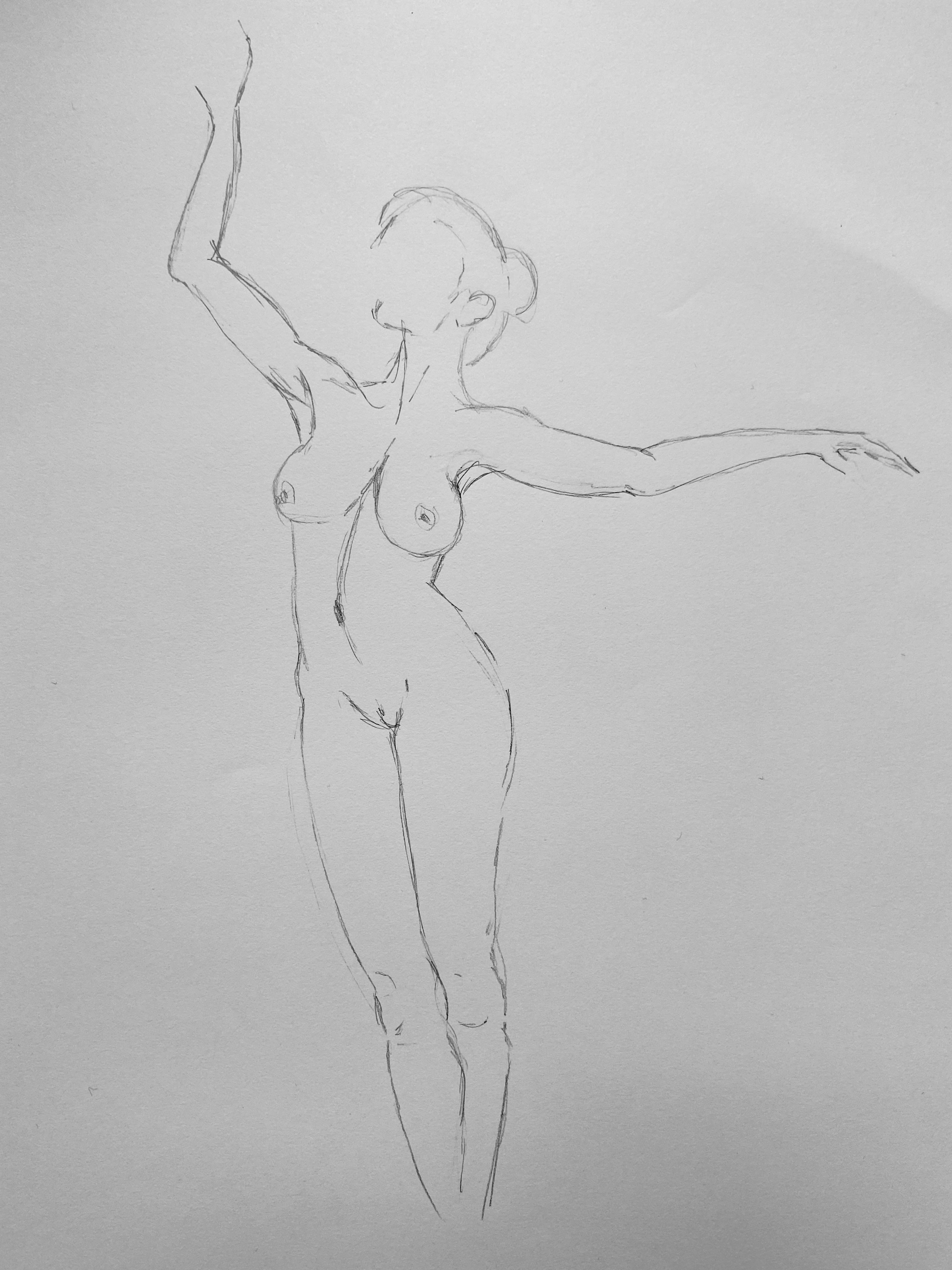 Dessin ligne danseuse face aux trait crayon papier  cours de dessin
