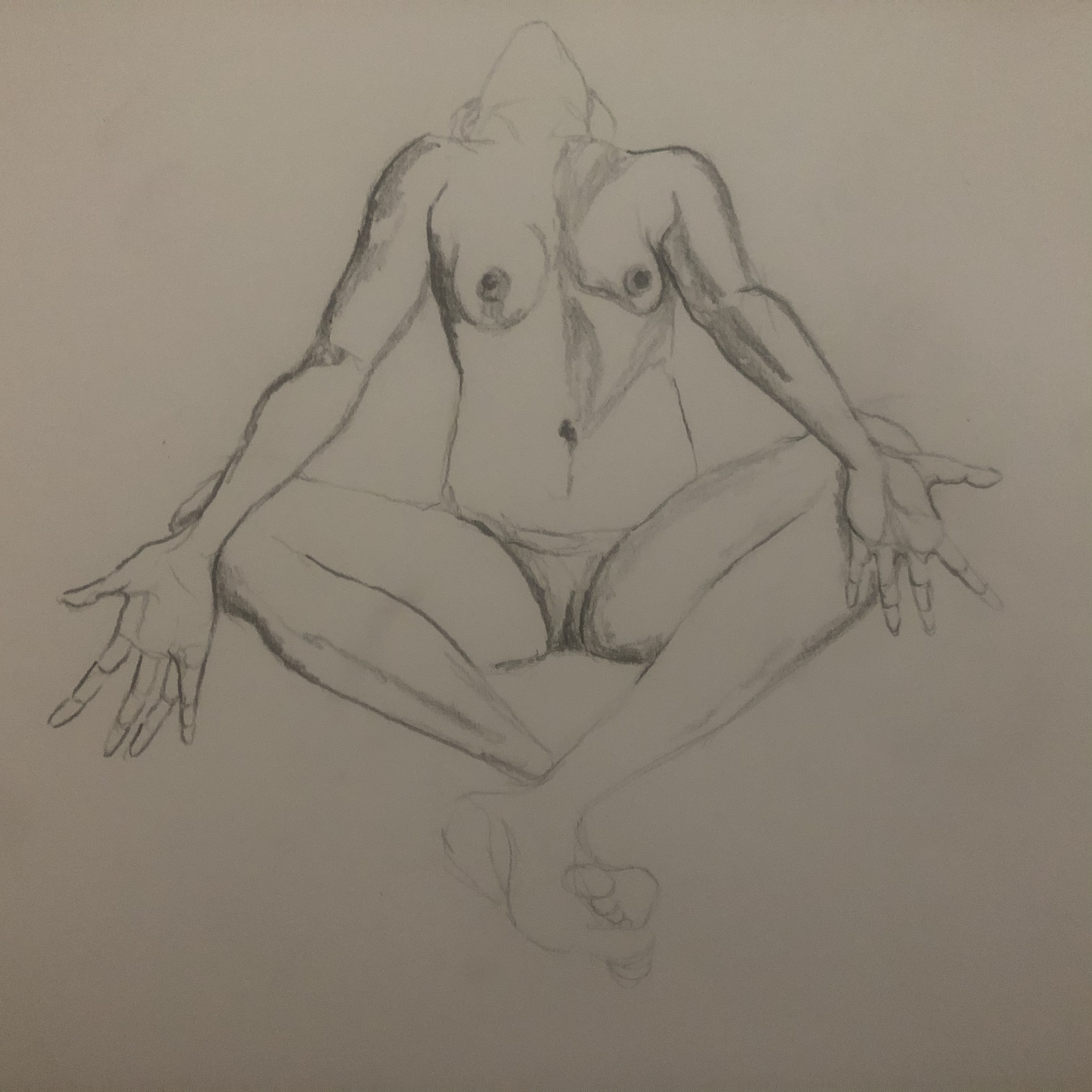 Dessin face mod�le vivant en raccourci au crayon papier  cours de dessin