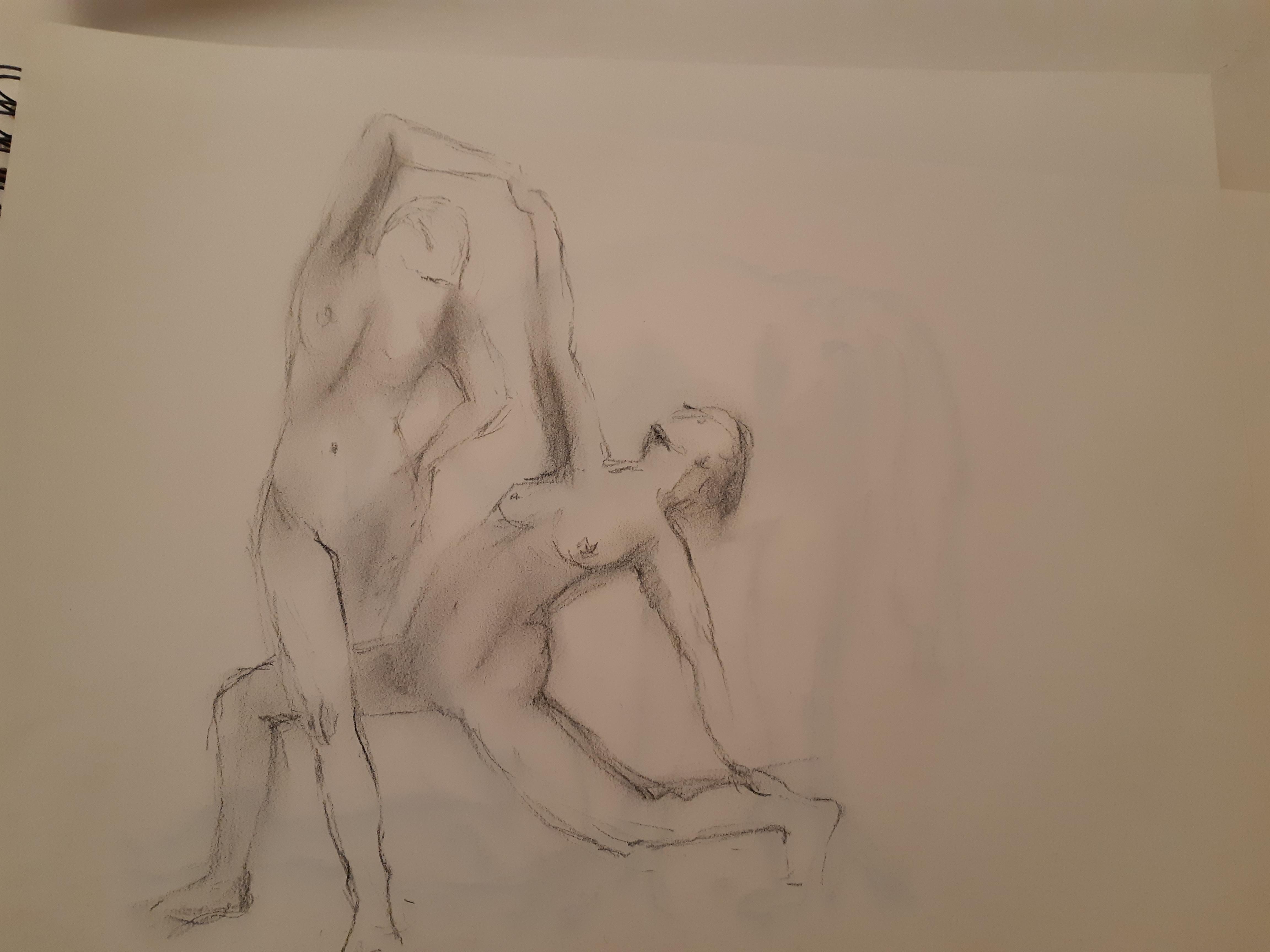 Fusain estompe couple de danseuses sur papier  cours de dessin
