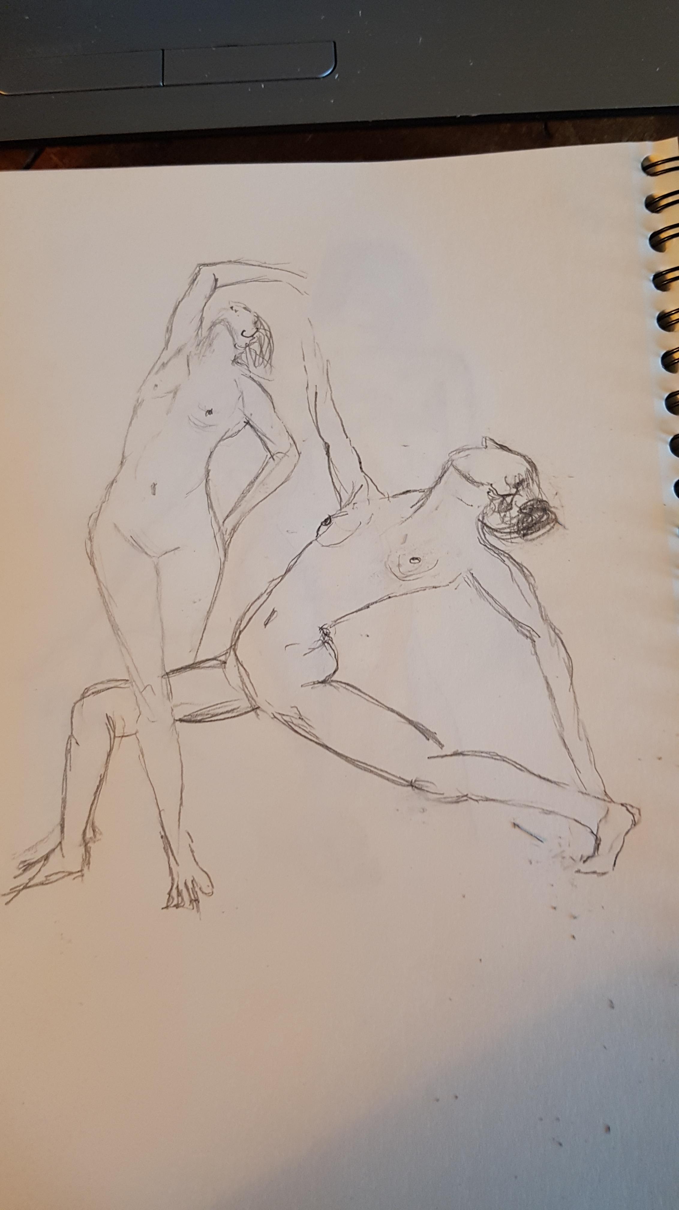 Esquisse rapide graphite couple de danseuses femmes  cours de dessin