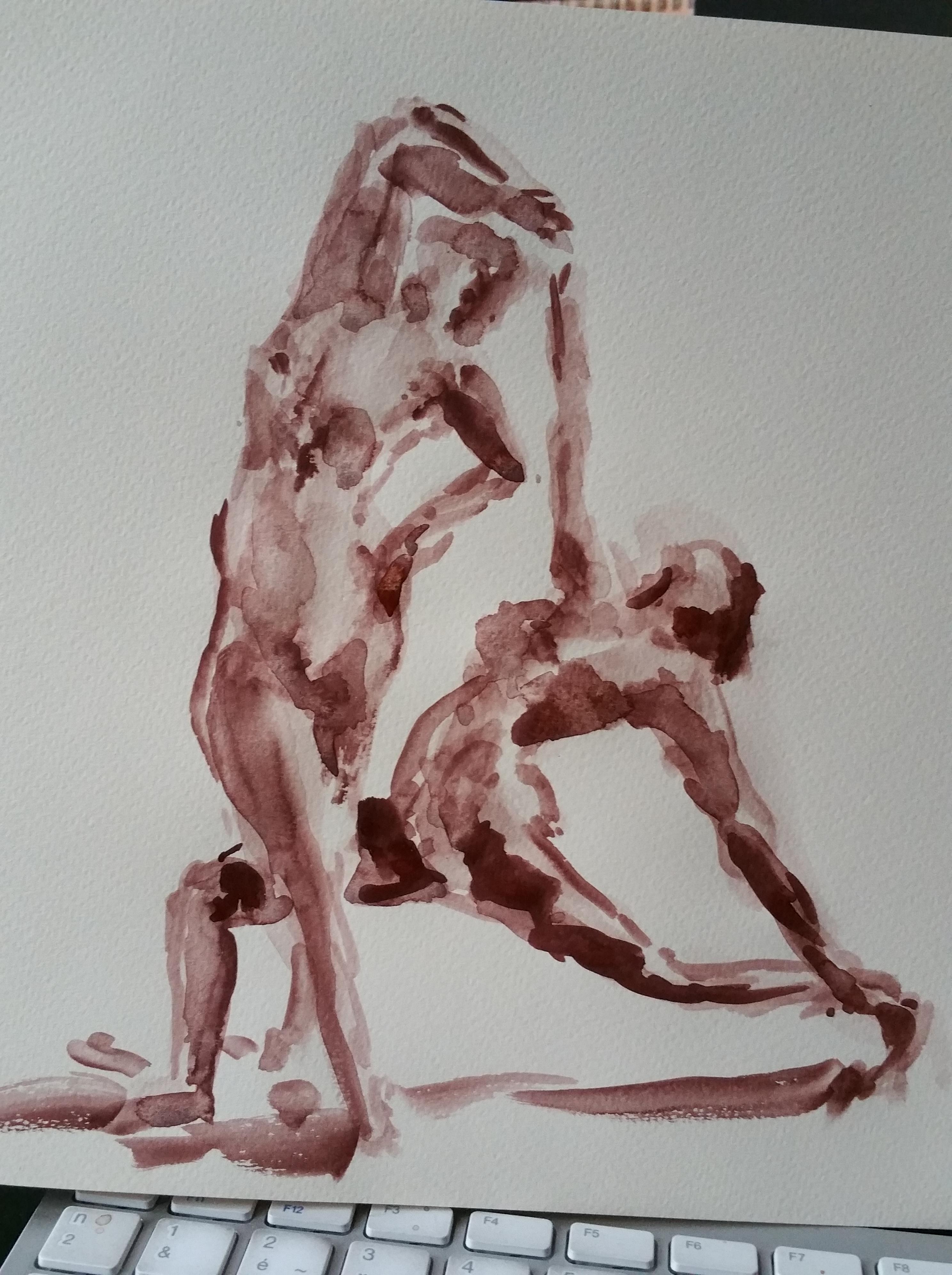 Dessin aquarelle rouge couple de danseuses  cours de dessin
