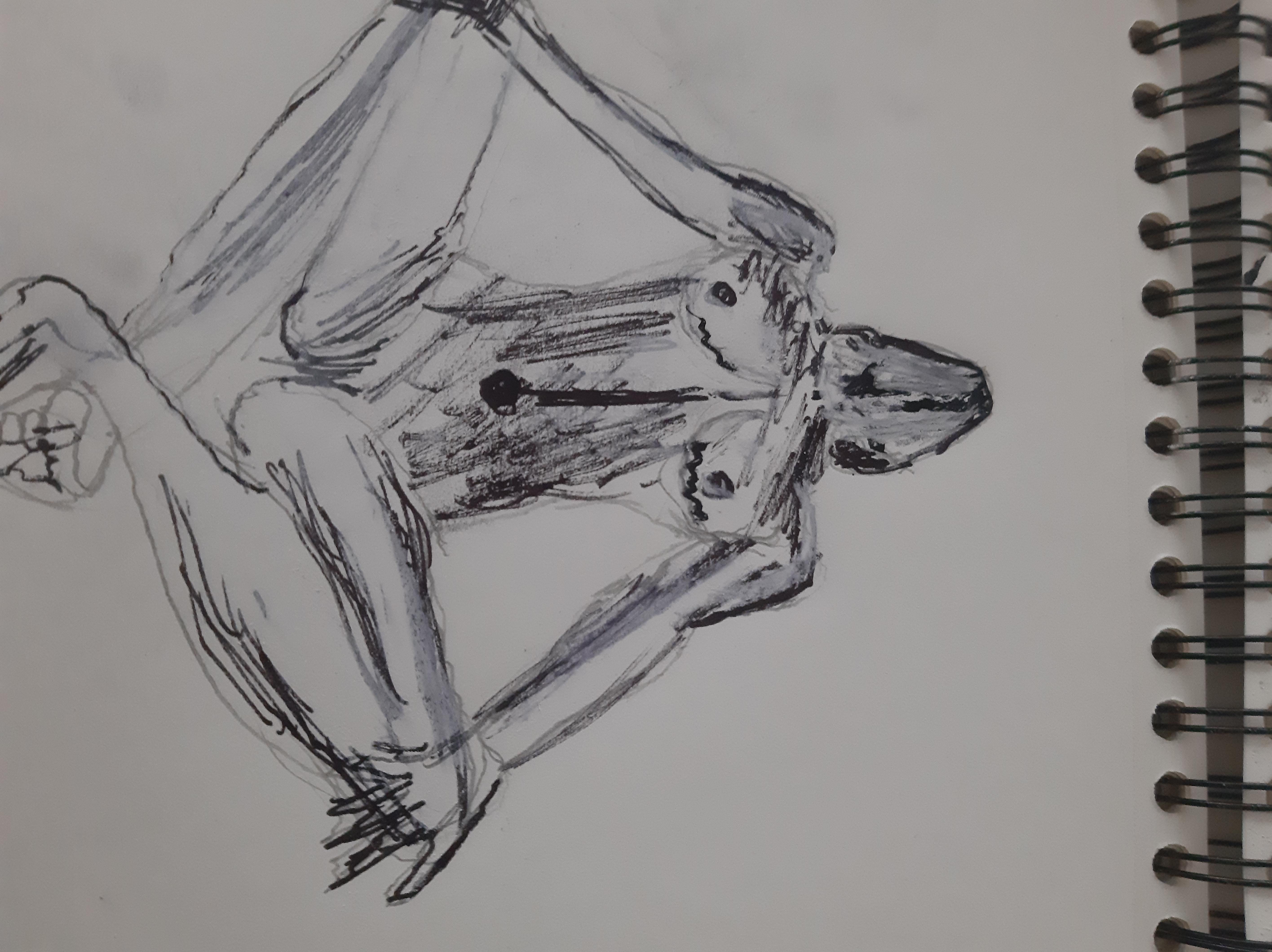Dessin plume et pastel femme raccourcie  cours de dessin