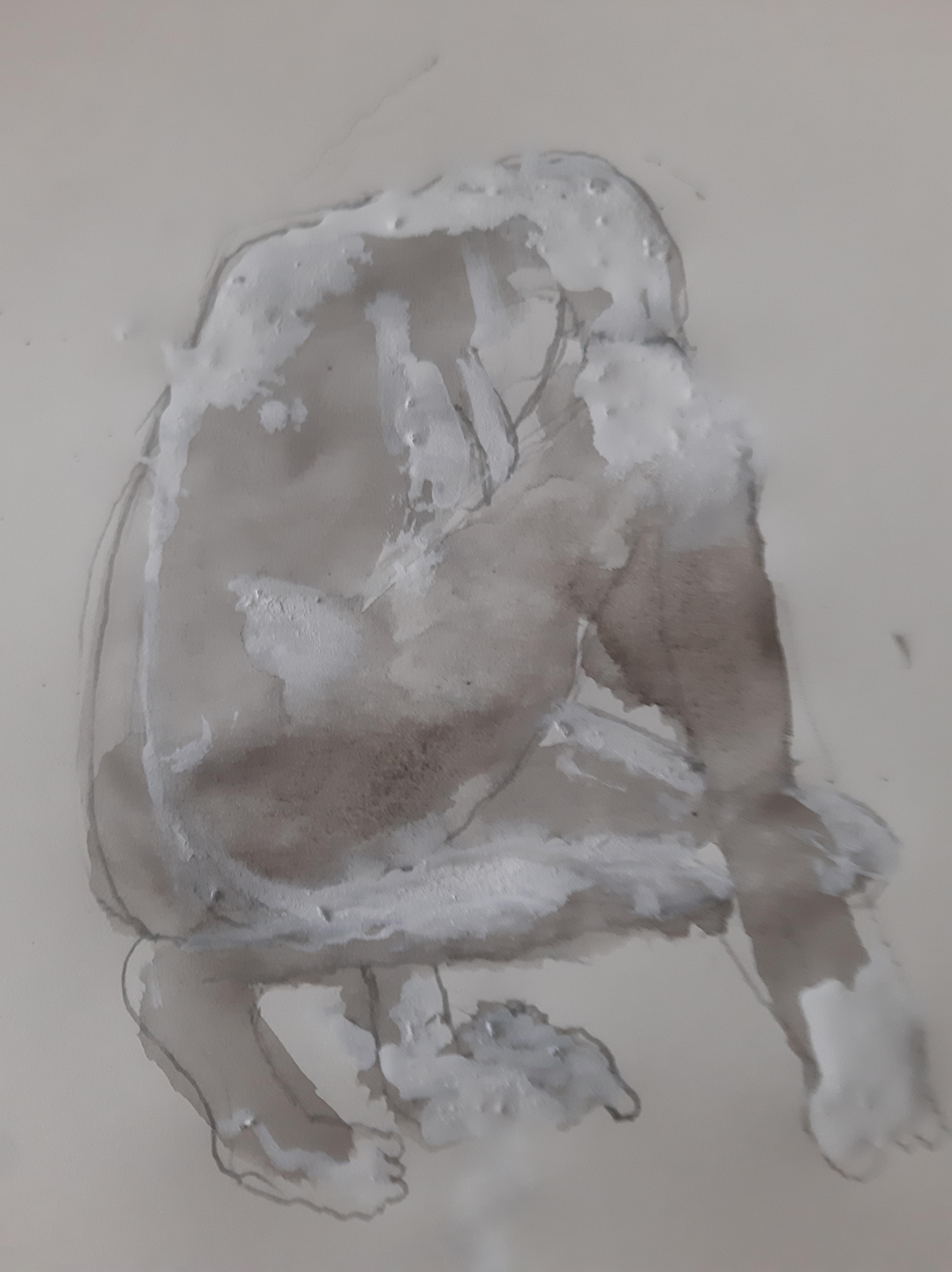 Femme accroupie technique mixte la vie et craie blanche sur papier  cours de dessin