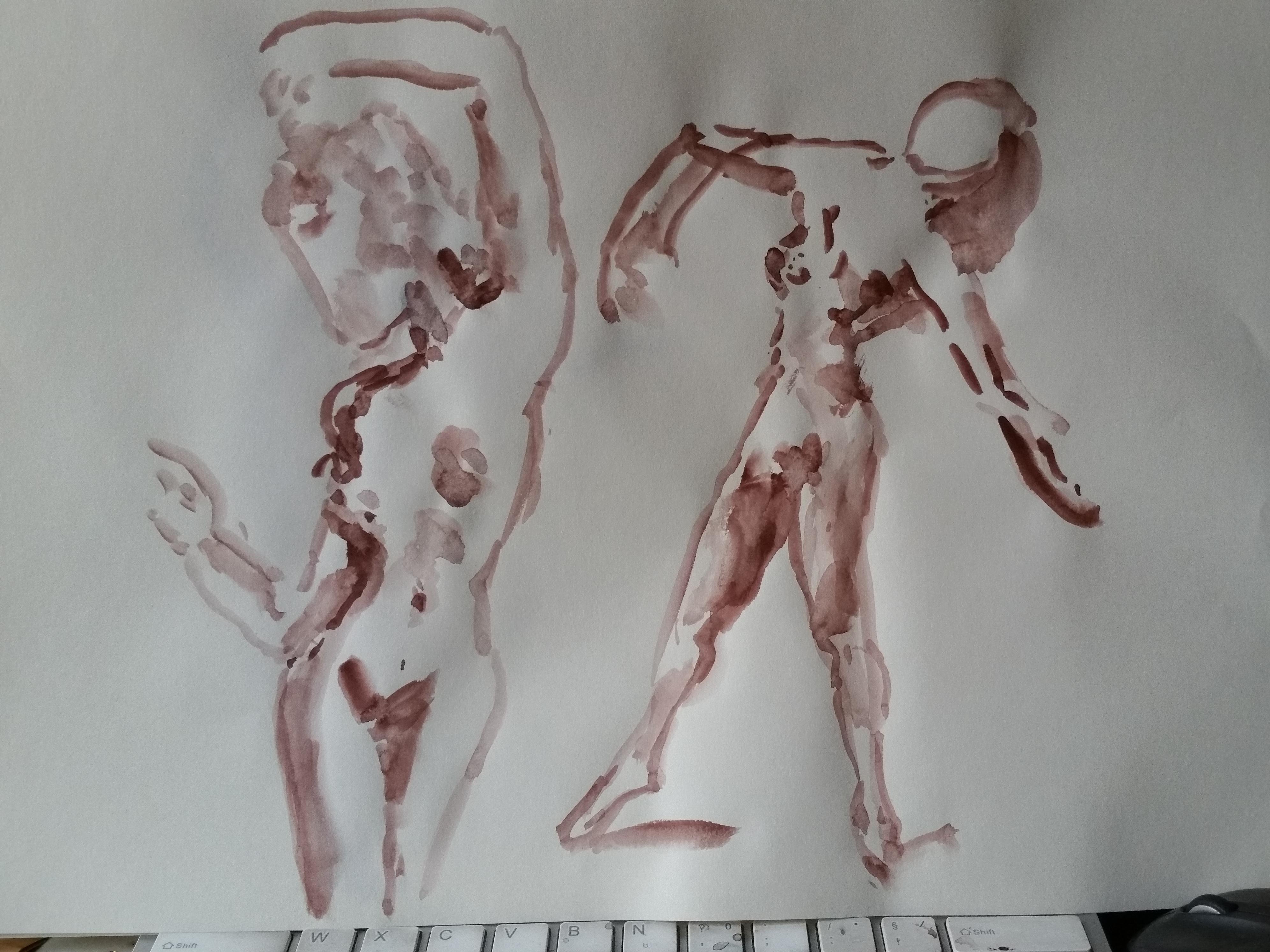 Composition deux aquarelles sur papier danseuse femme  cours de dessin