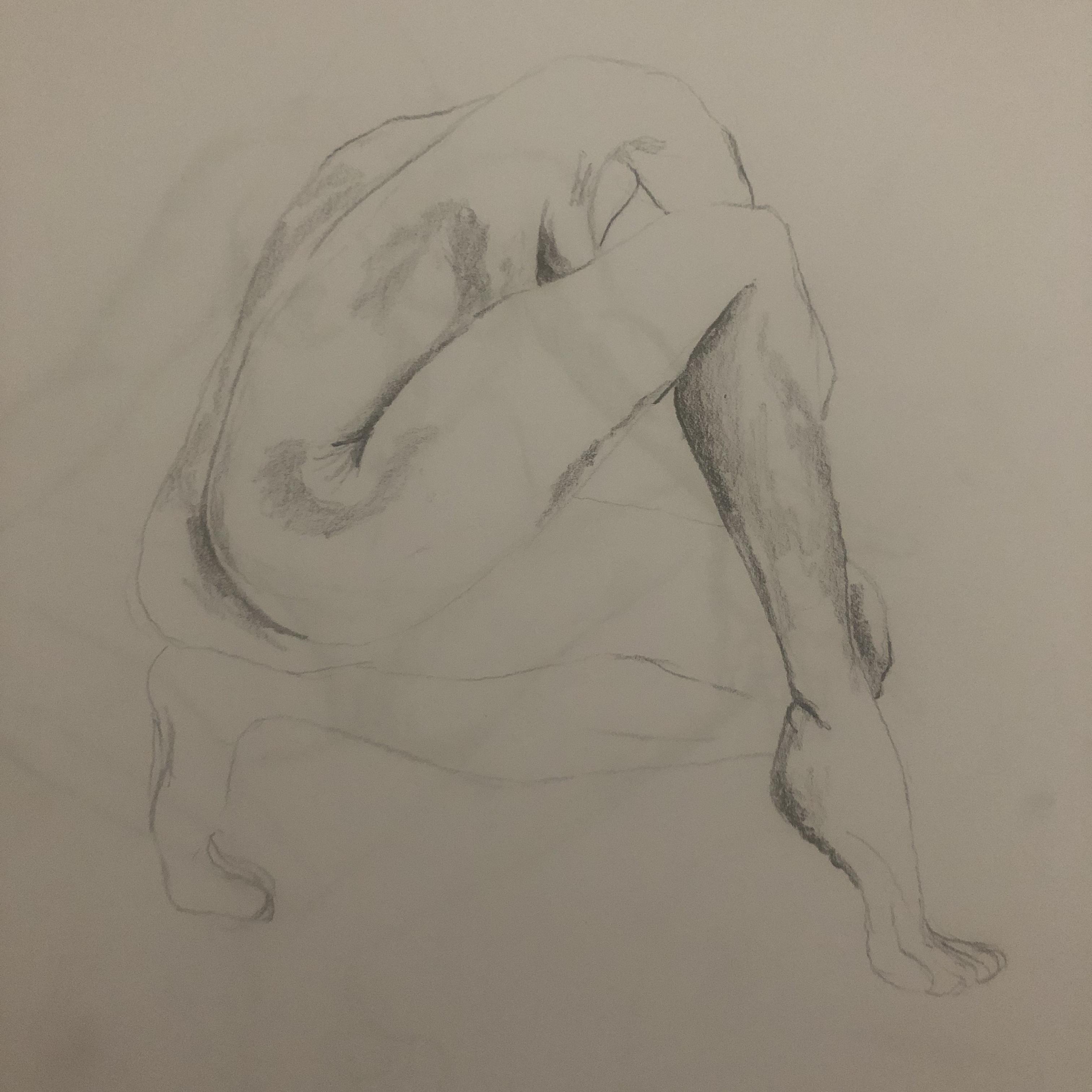Dessin crayon papier pose accroupi trois quarts dos pied  cours de dessin