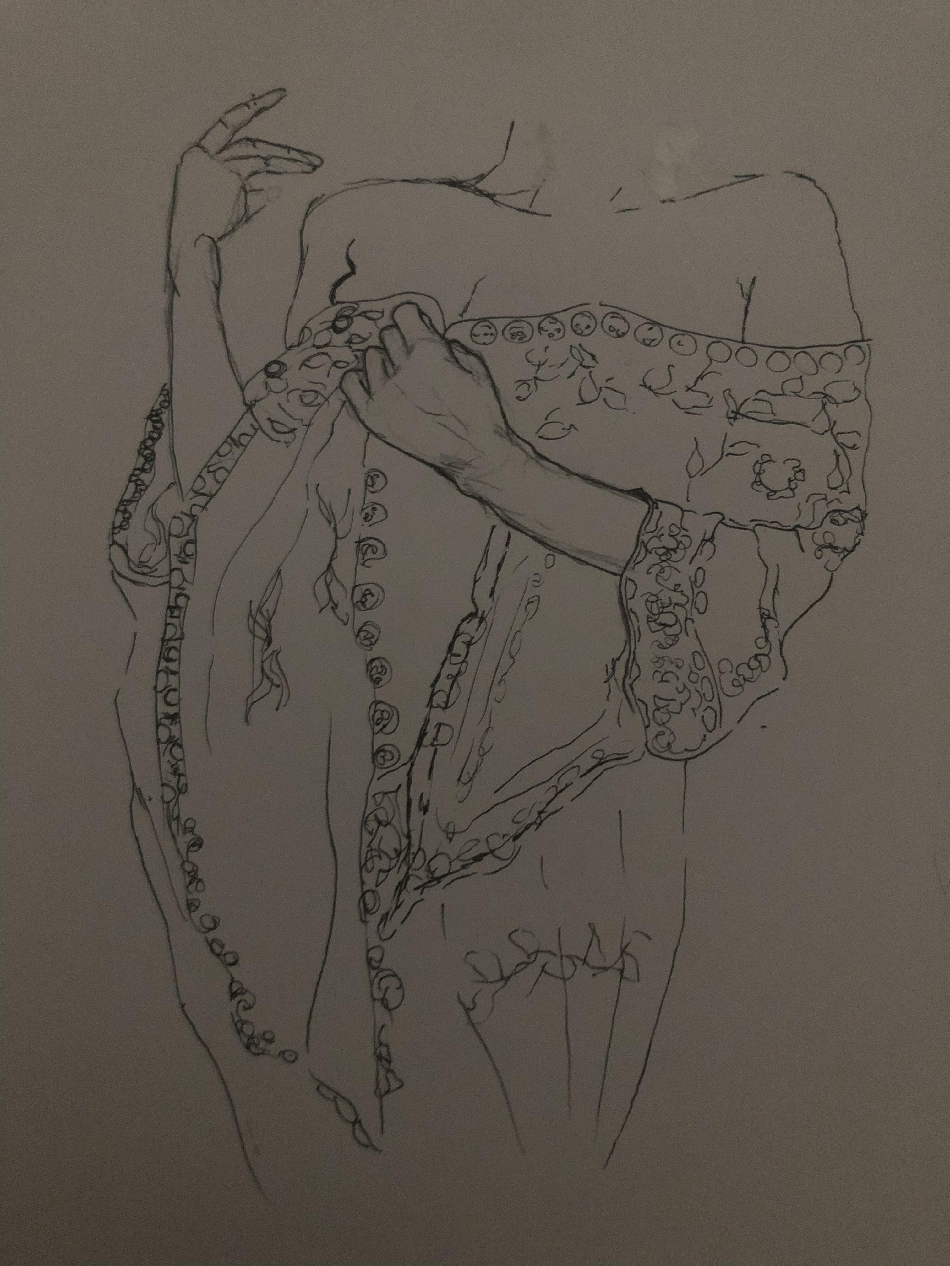 Dessin buste motif tissu drap� et main  cours de dessin