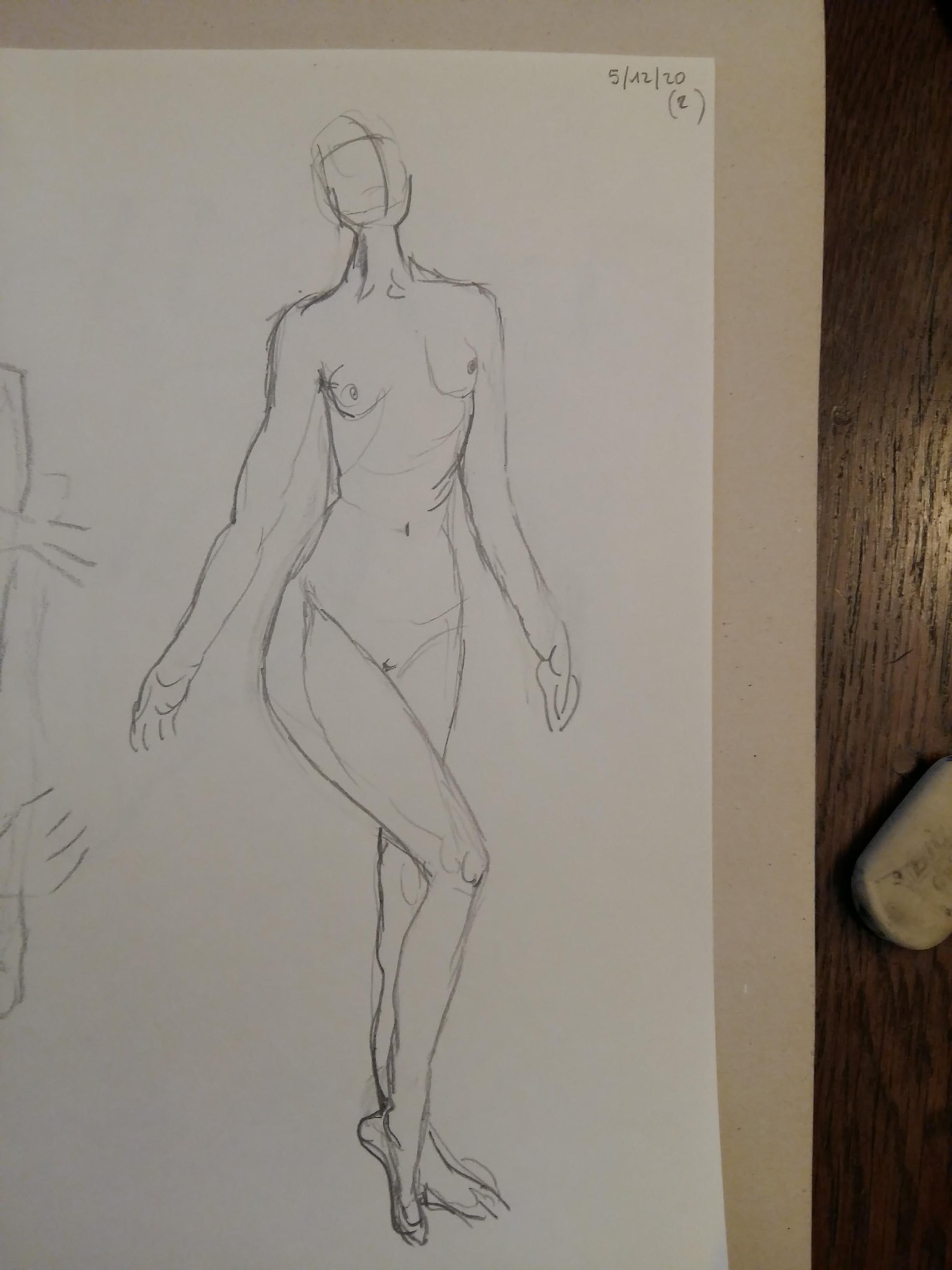 Dessin femme 3/4 droit en pied crayon papier  cours de dessin