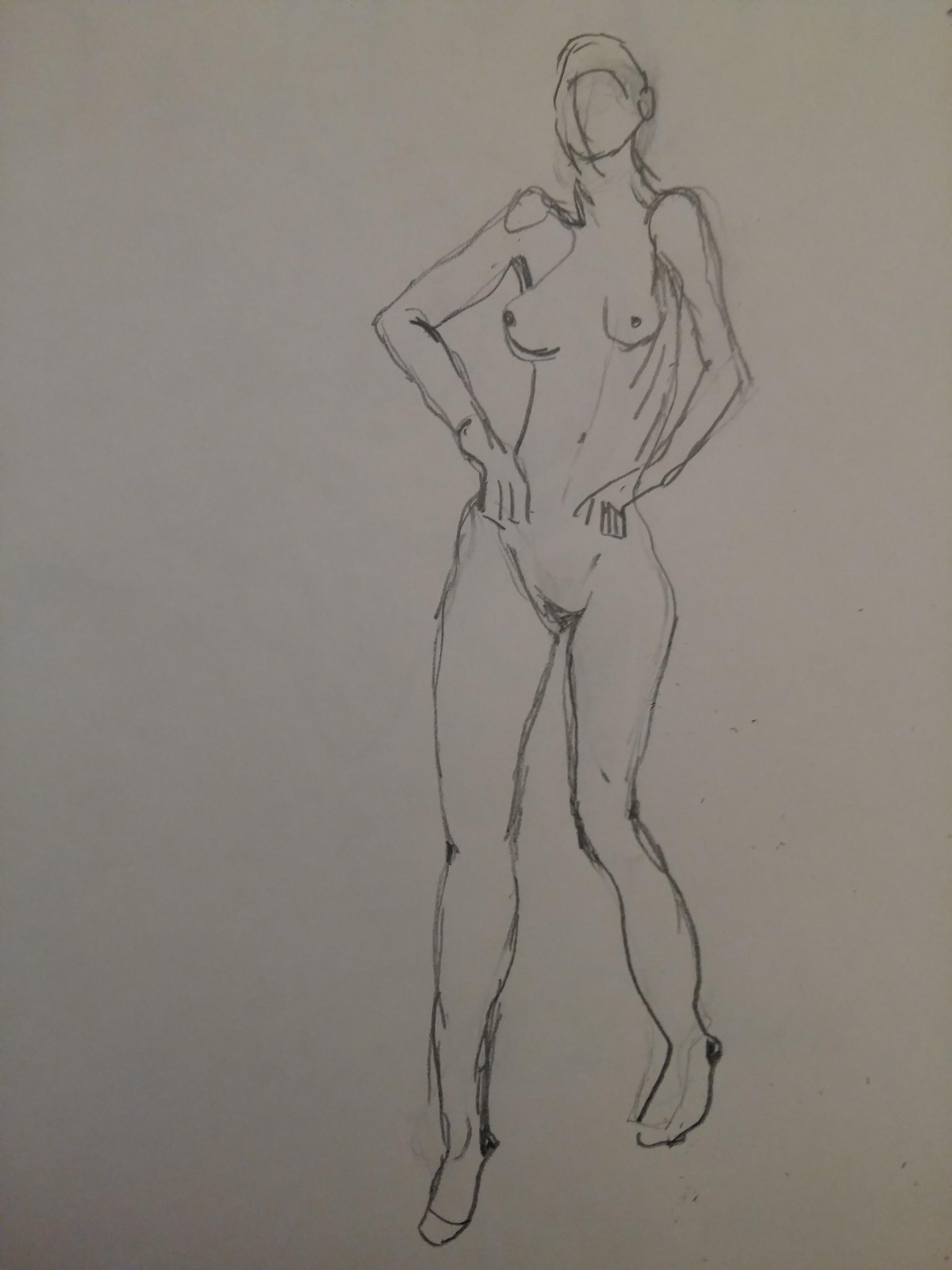 Dessin femme en pied nu  cours de dessin