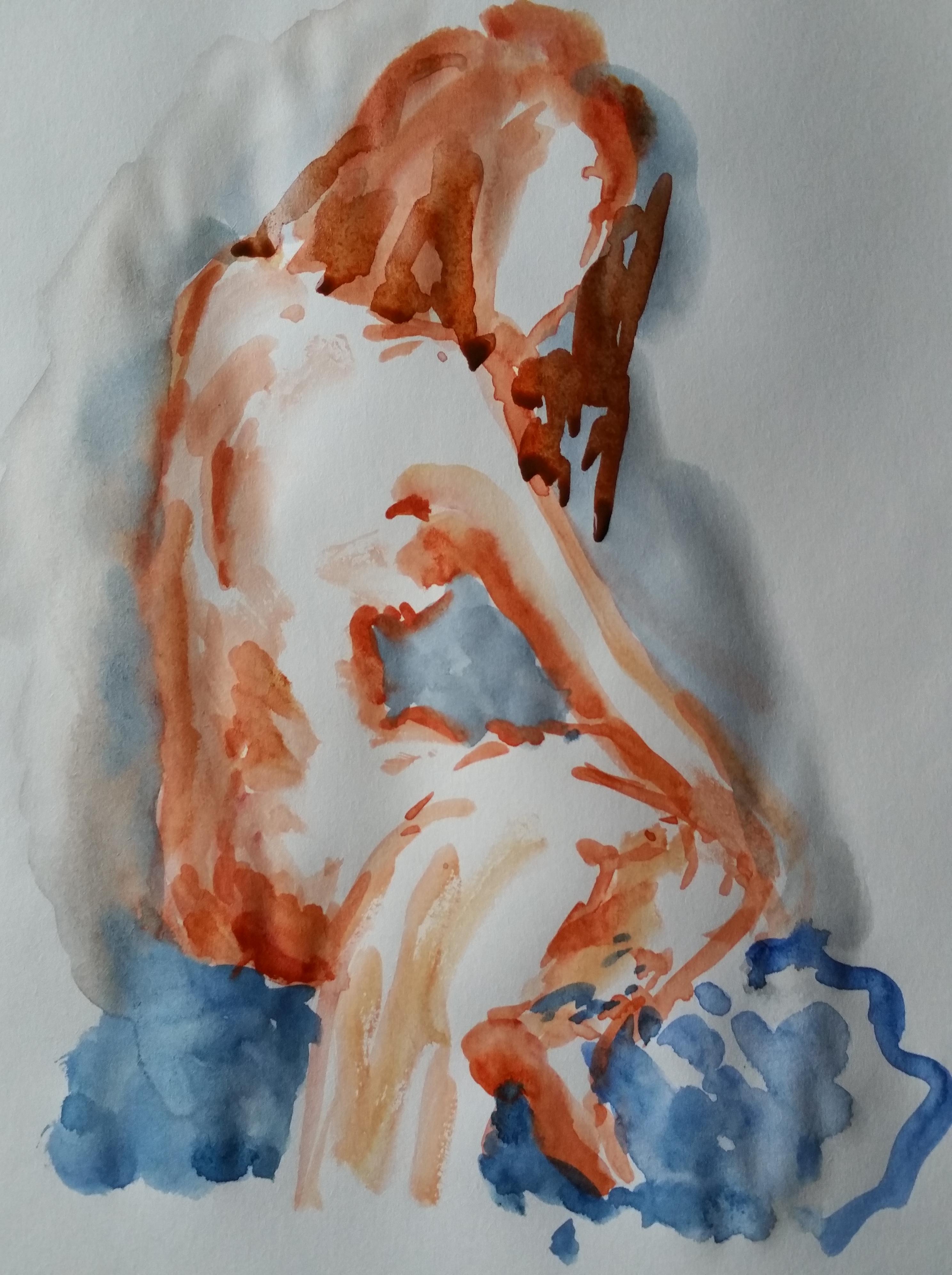 Dessin aquarelle orang� bleu femme nu trois quarts dos  cours de dessin