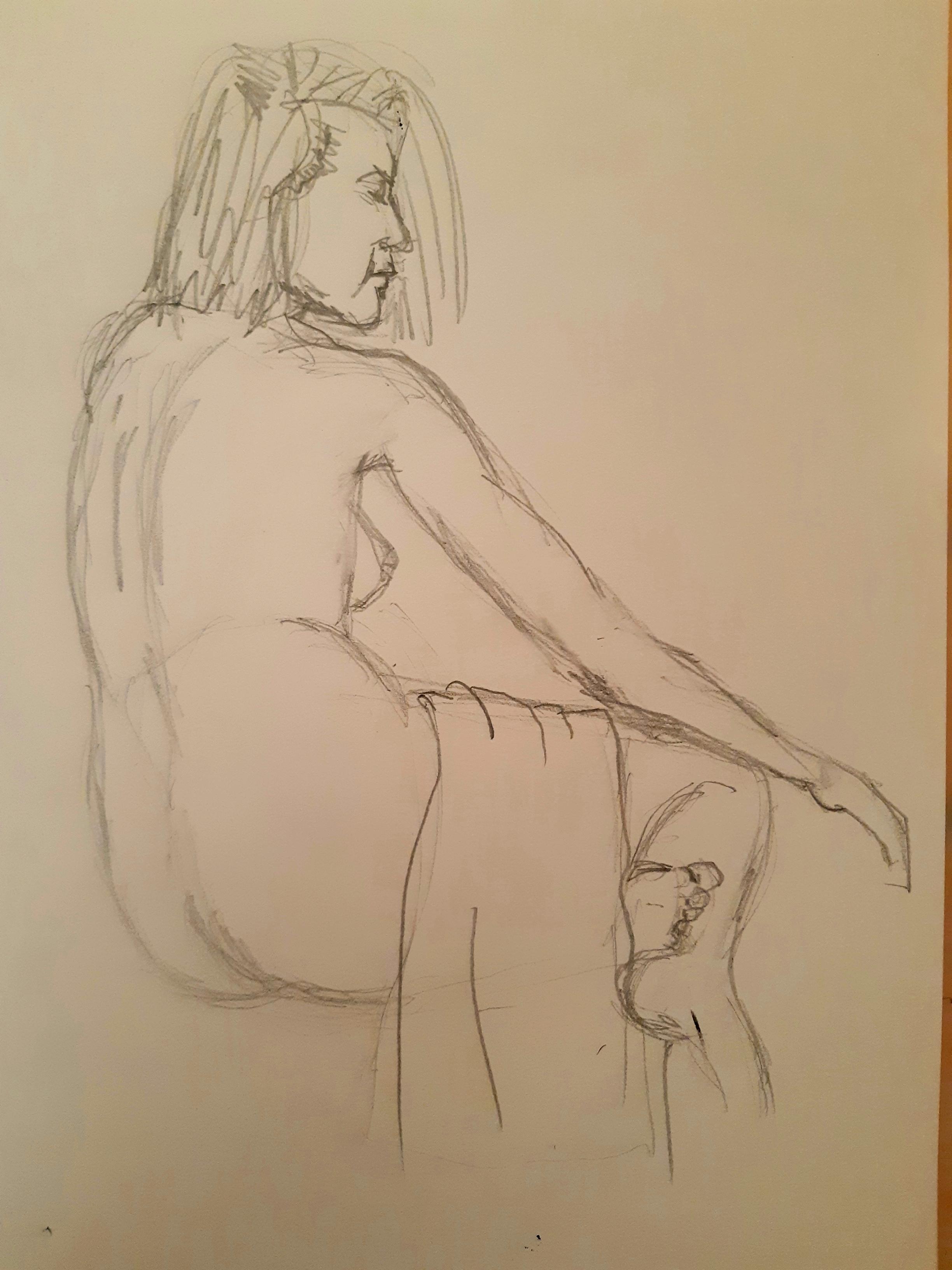 Dessin mod�le vivant graphite femme trois quarts dos droit avec draper  cours de dessin