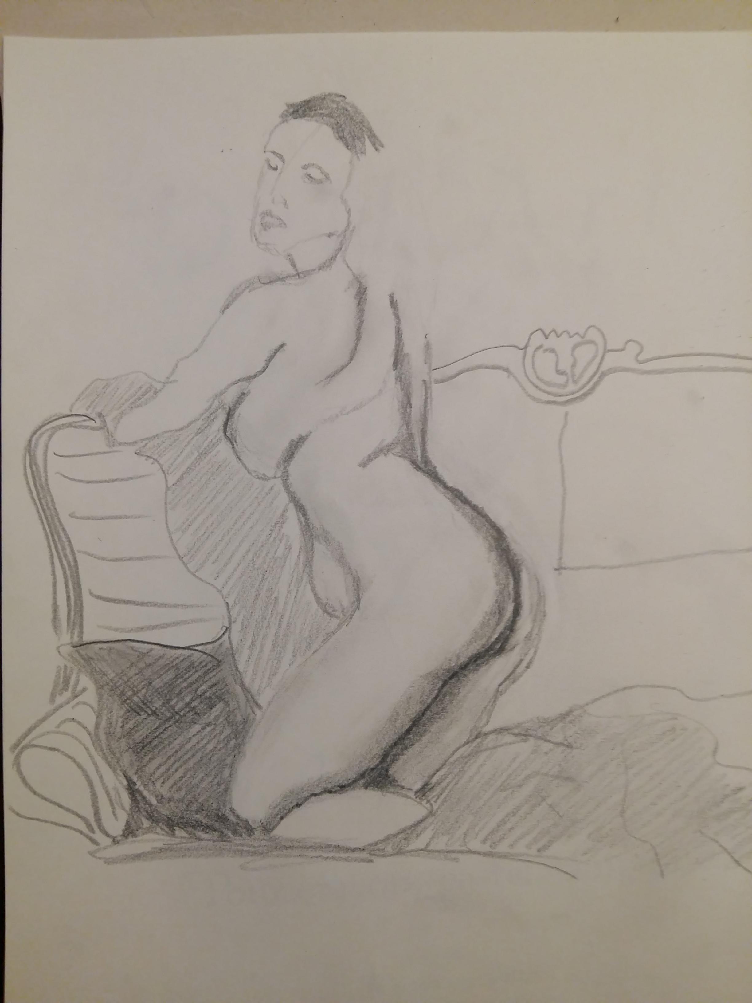 Dessin mod�le vivant trois quarts dos femme divan graphique sur papier  cours de dessin