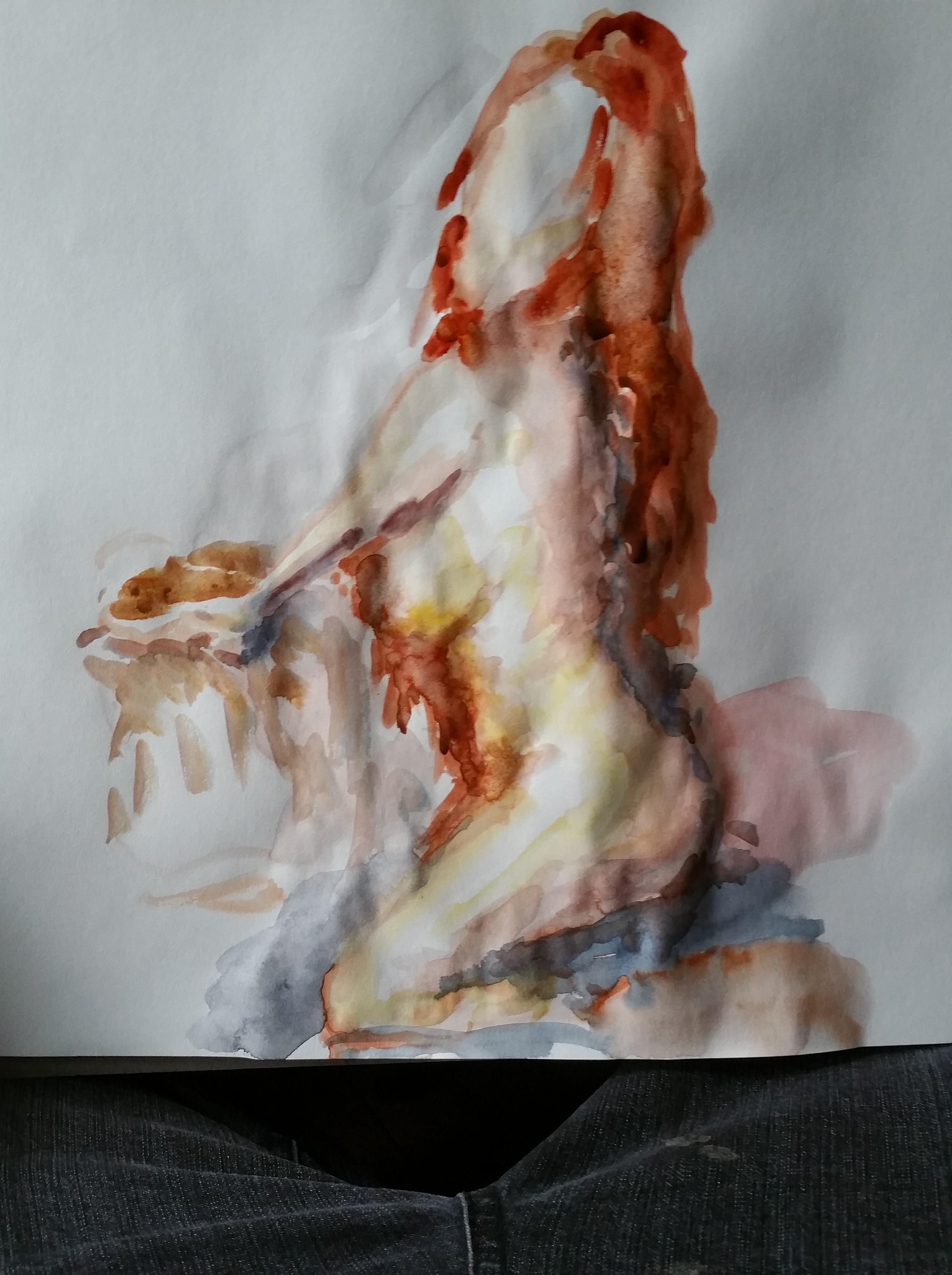 Aquarelle mod�le vivant accroupi femme  cours de dessin
