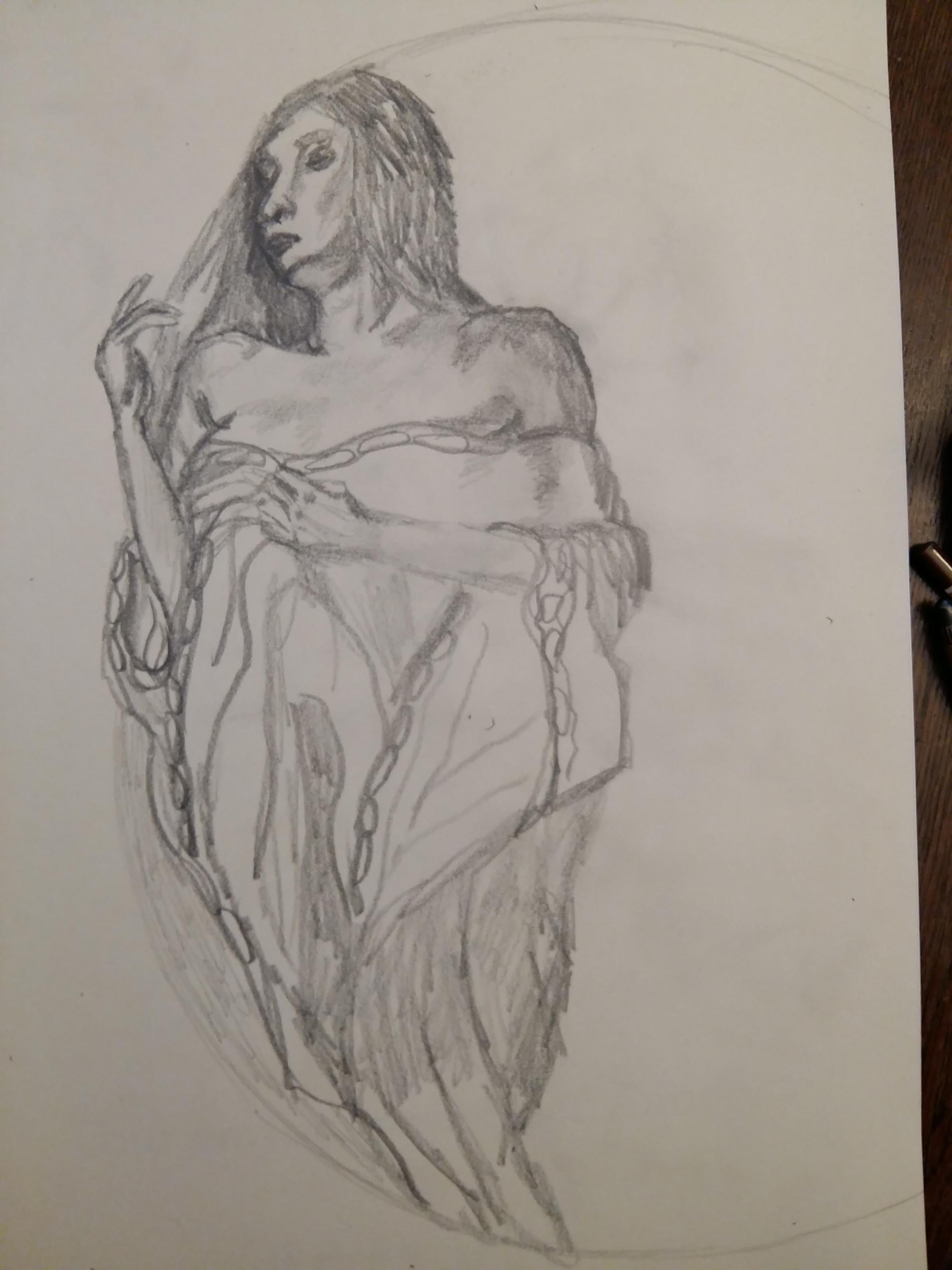 Dessin mod�le vivant femme en pied drap�e graphite sur papier  cours de dessin