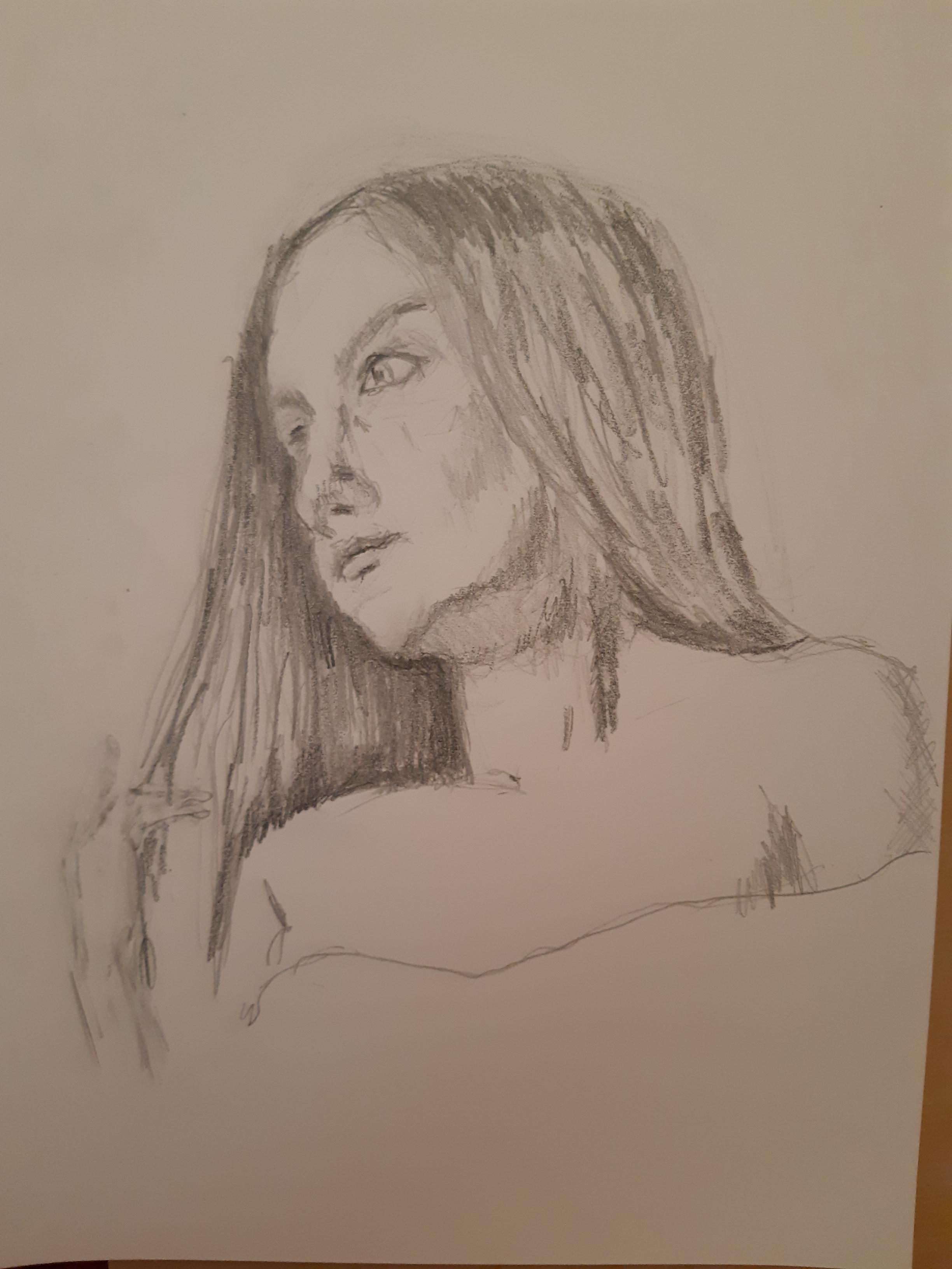Portrait 3/4  face gauche graphite sur papier  cours de dessin