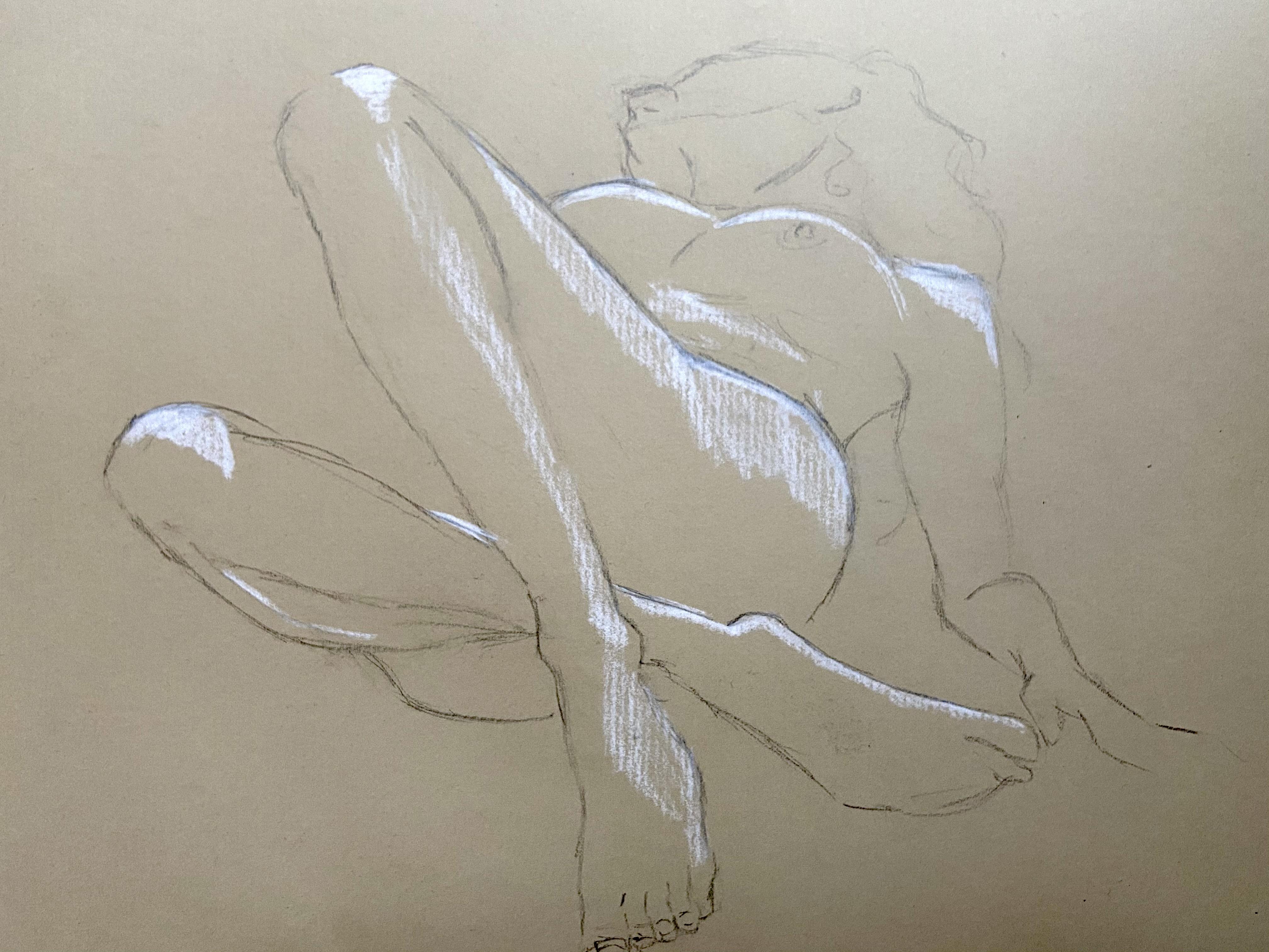 Dessin technique mixte raccourci perspective corps crayon blanc graphite sur papier Kraft  cours de dessin