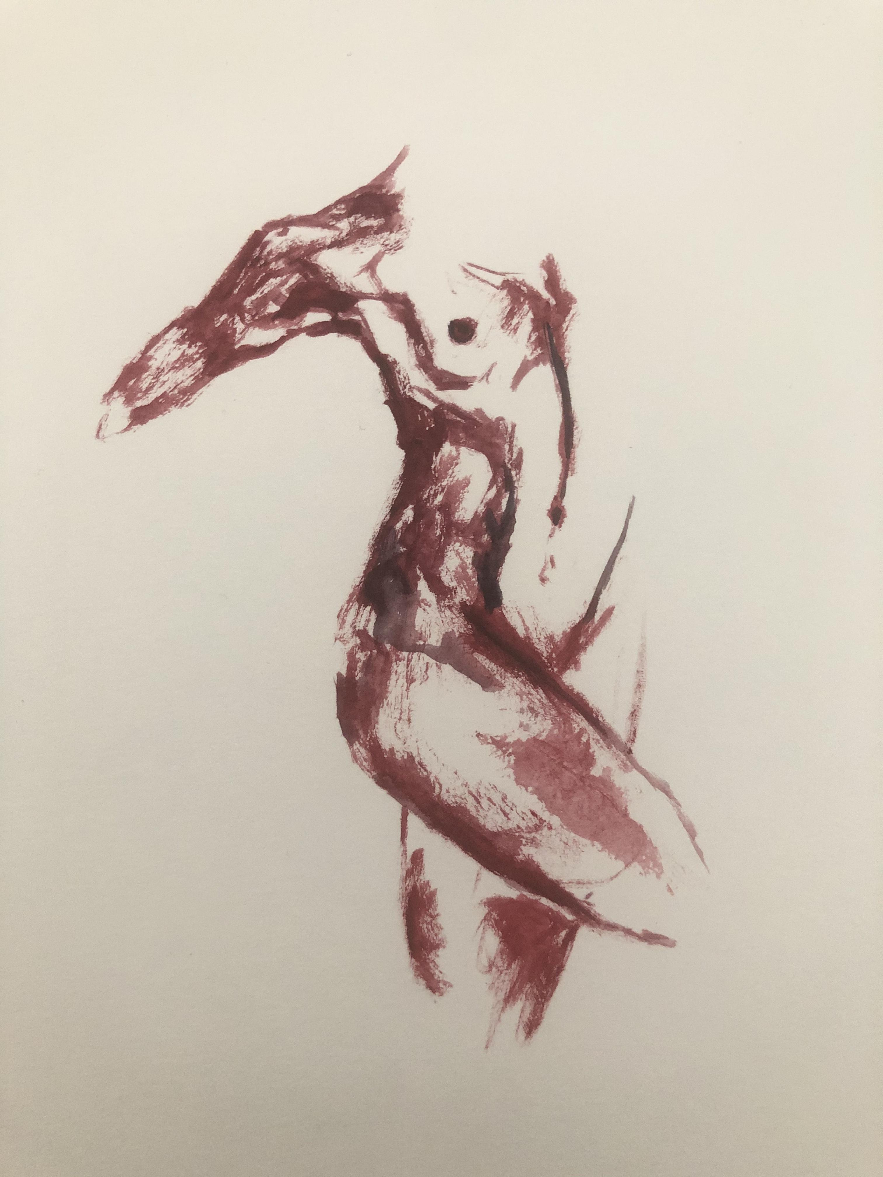 Buste en Bordeaux femme sur papier  cours de dessin