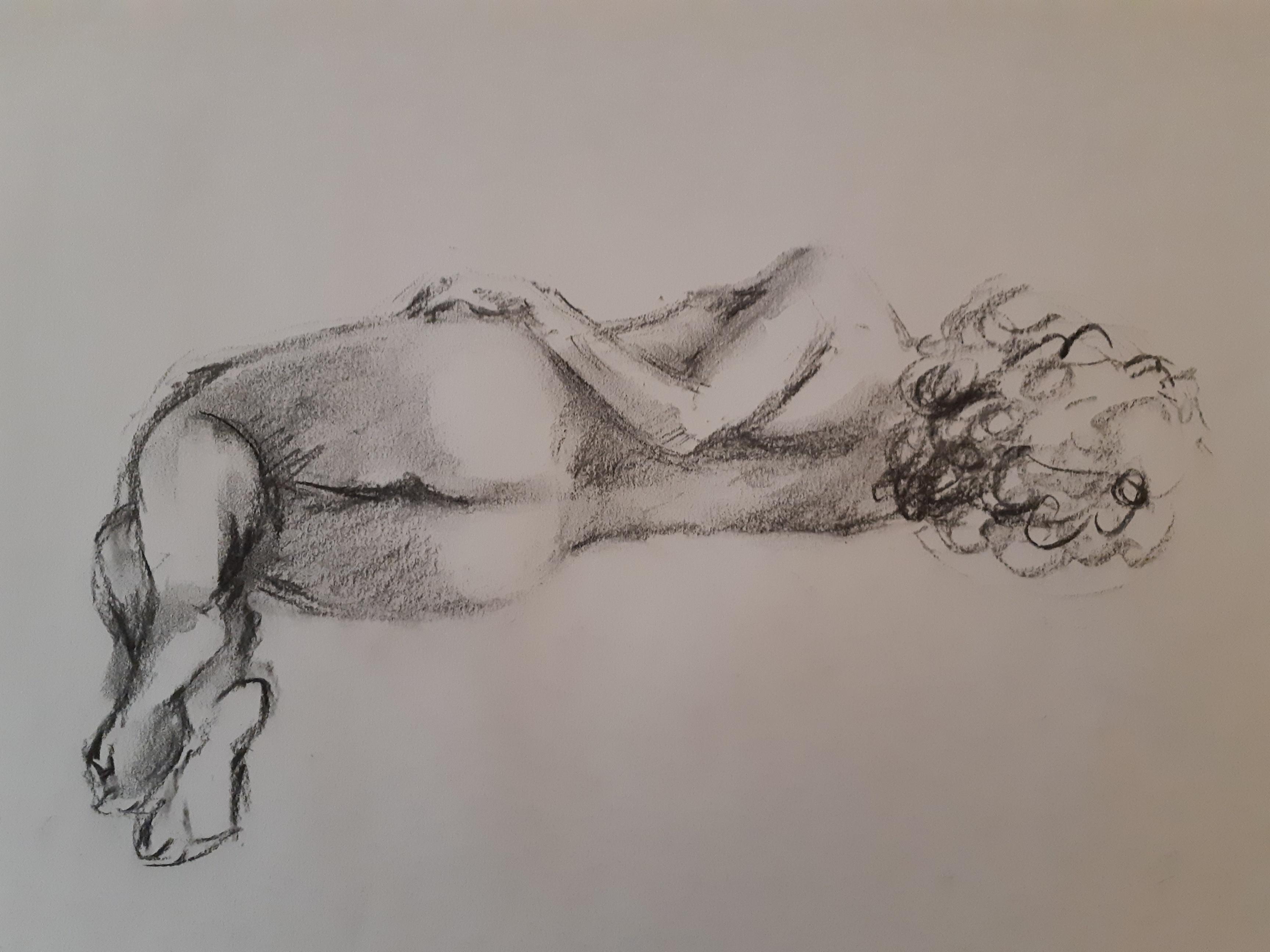 Fusain niveaux de gris femme allong�e dos  cours de dessin