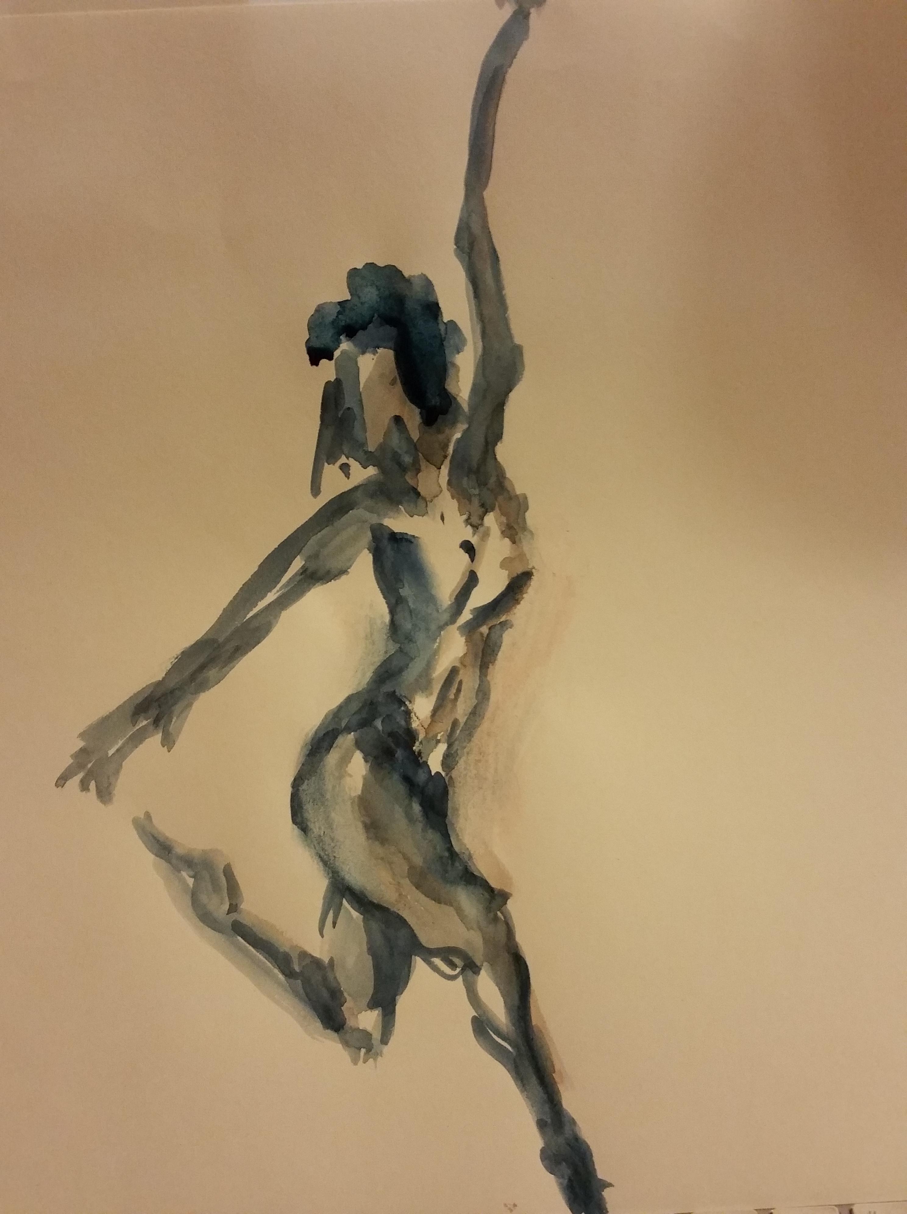 Aquarelle cama�eu danseuse sur papier  cours de dessin