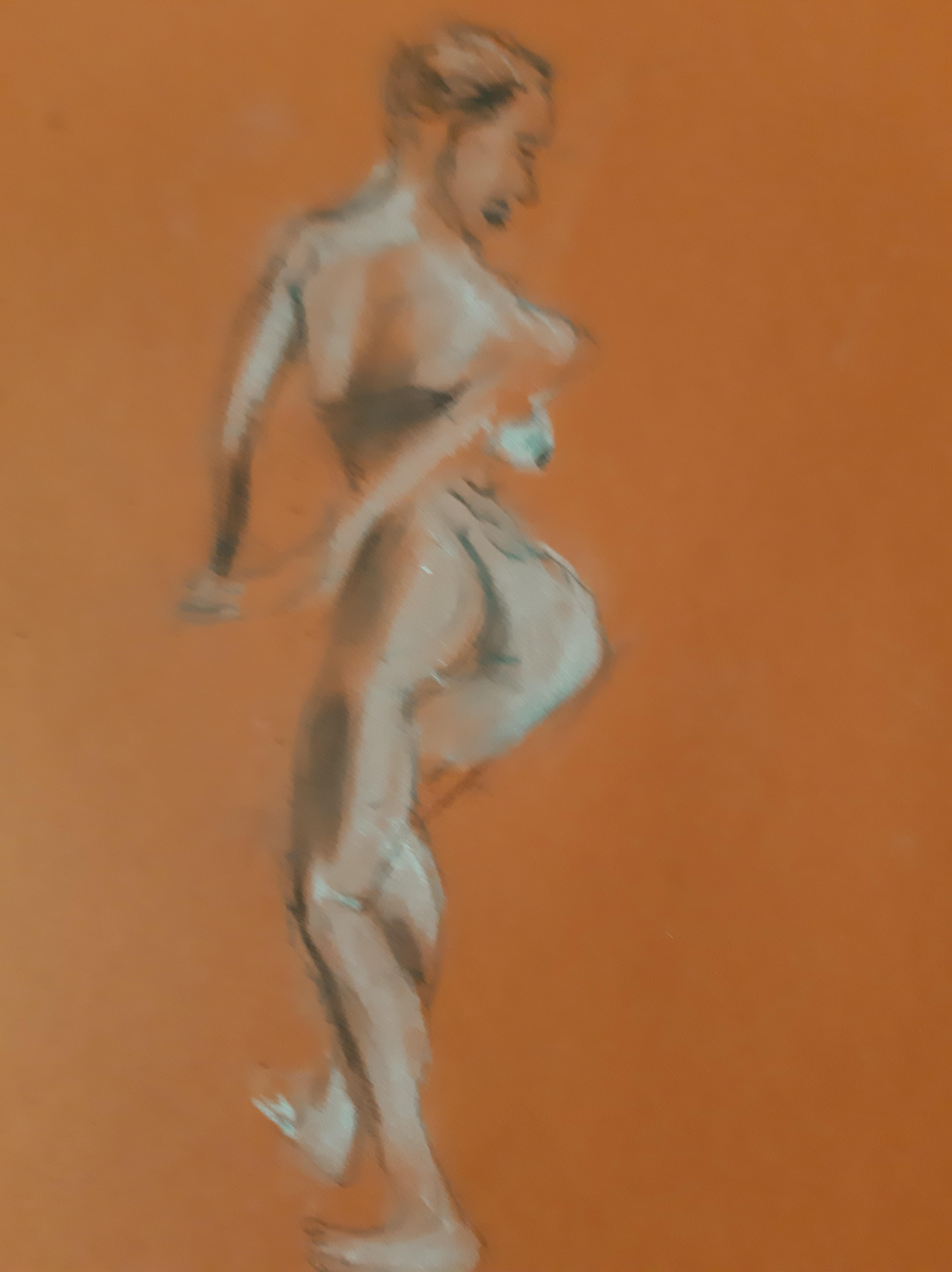 Esquisse pastel sur papier orange femme dos debout  cours de dessin