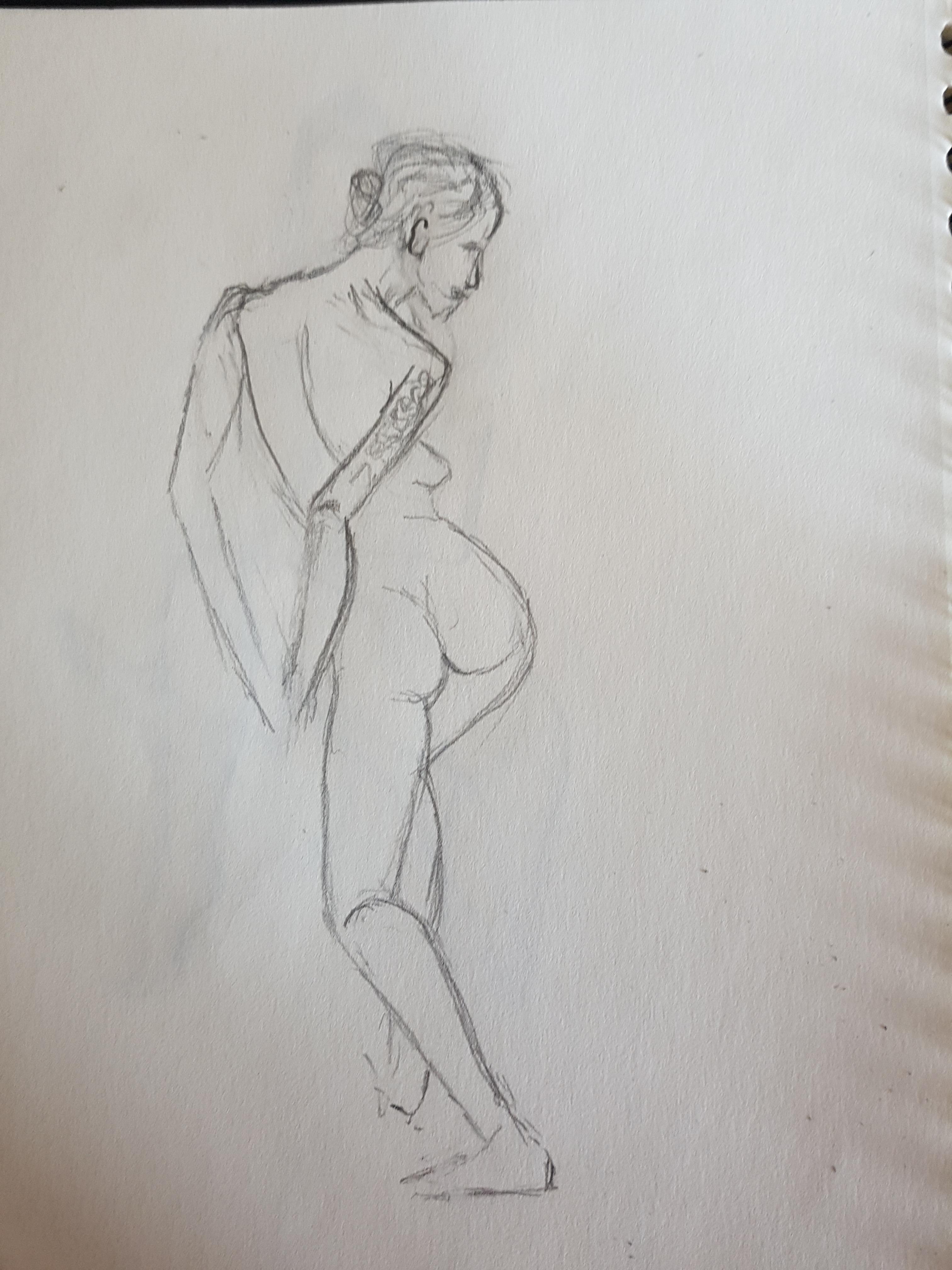 Esquisse rapide crayon de papier femme dos en pied  cours de dessin