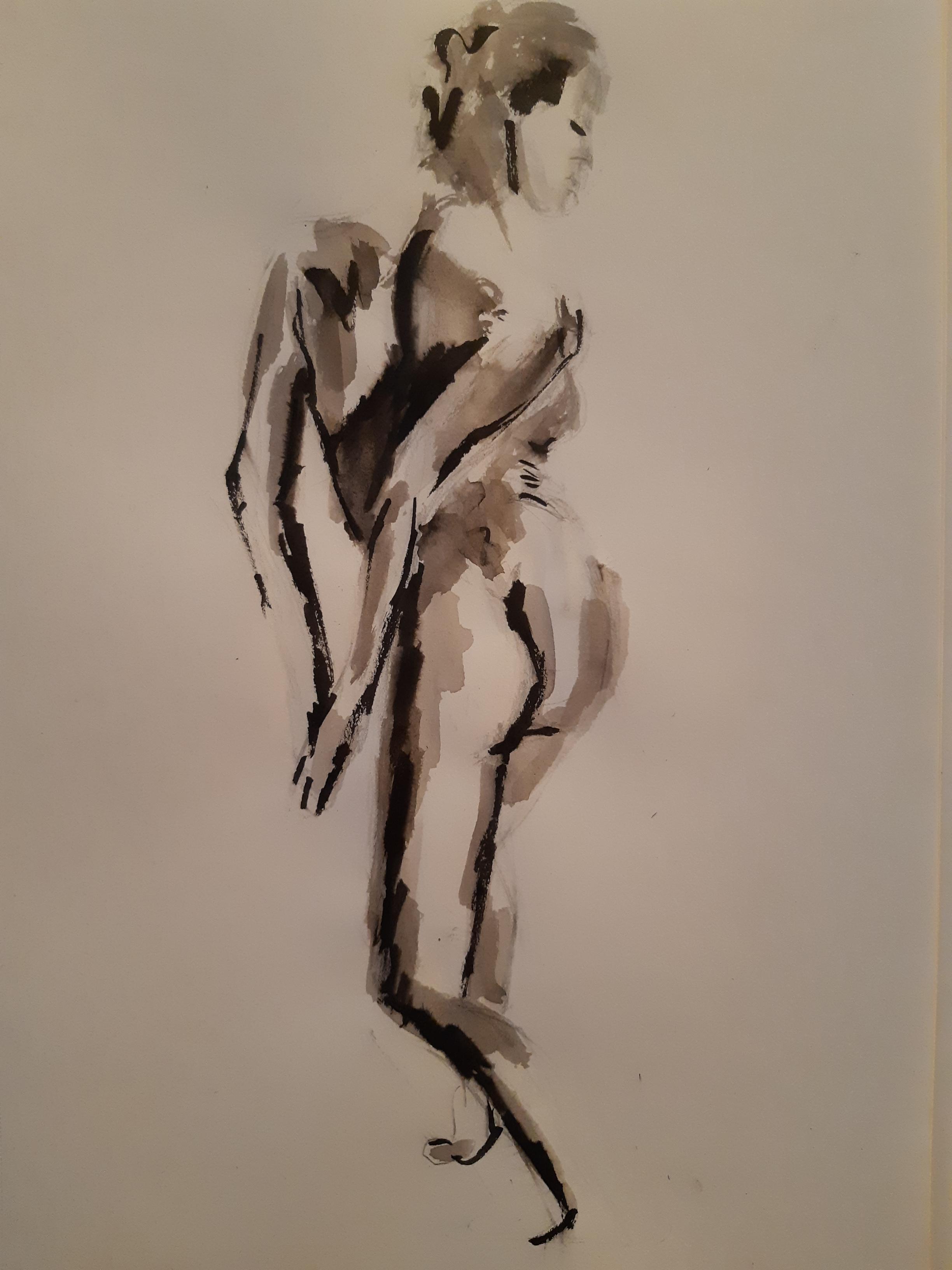 La vie encre au sur papier femme dos modèle vivant  cours de dessin