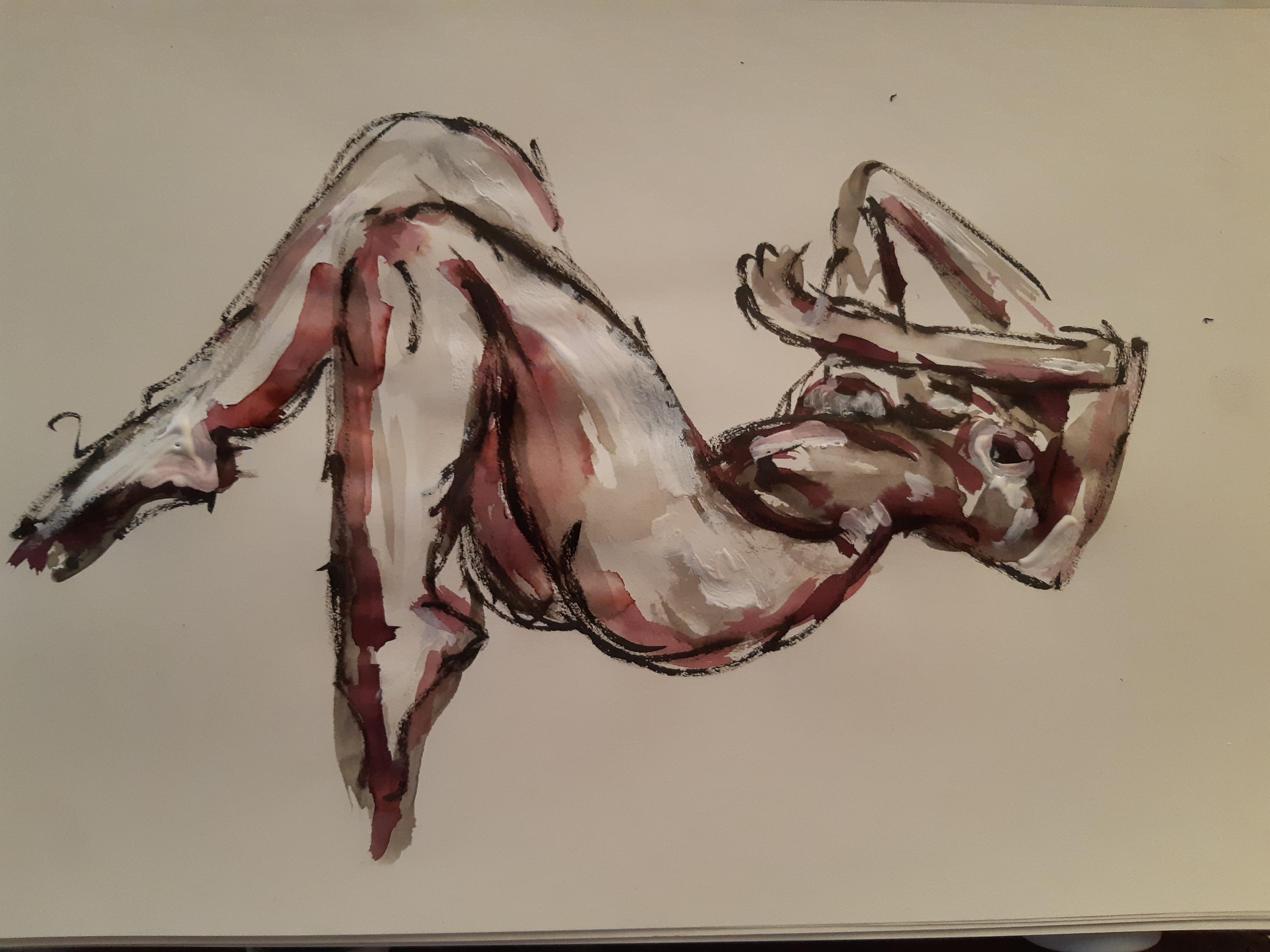 Peinture acrylique sur papier raccourci femme allongé sur le dos  cours de dessin