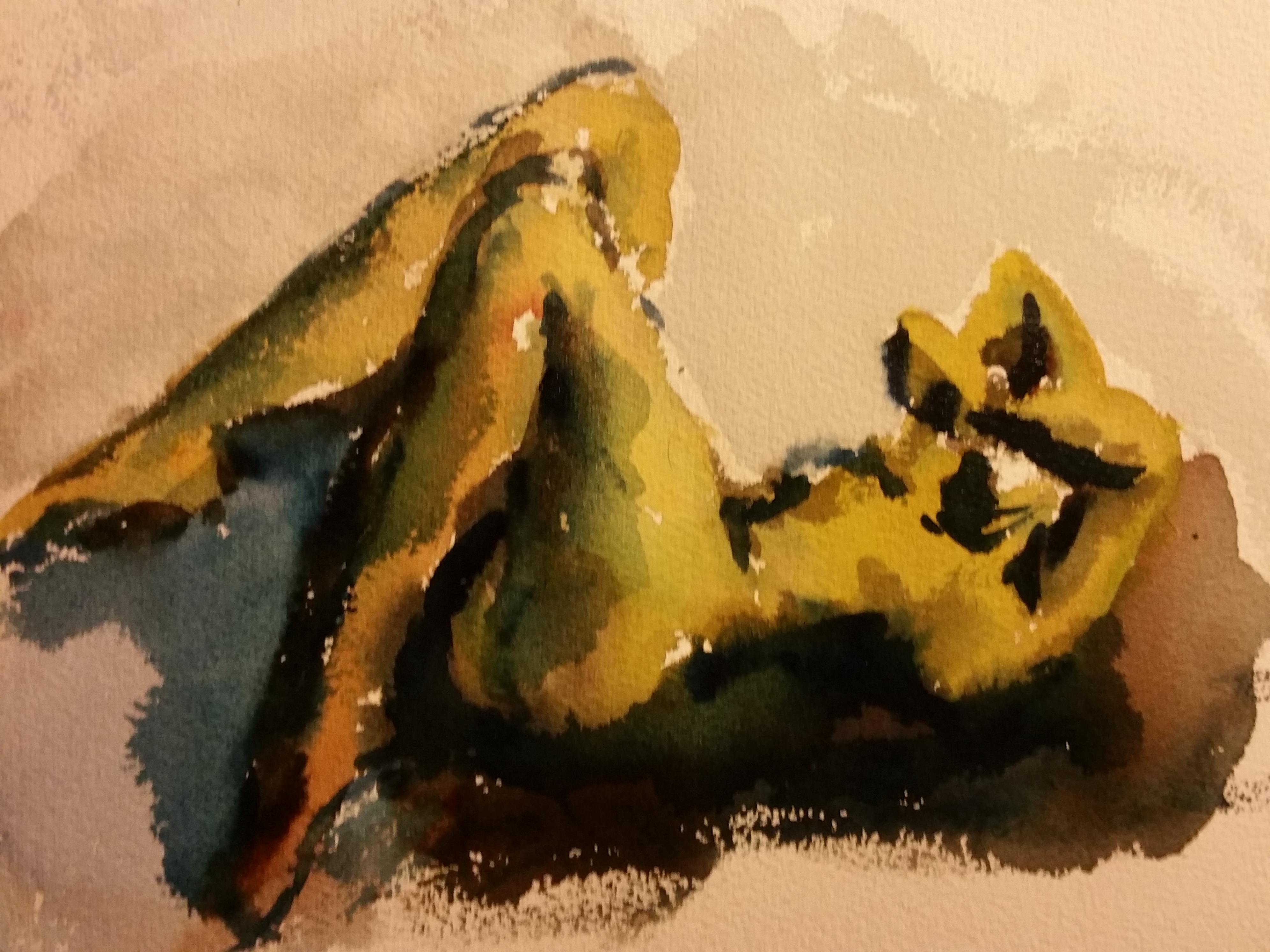Mod�le vivant allong� vert femme aquarelle  cours de dessin