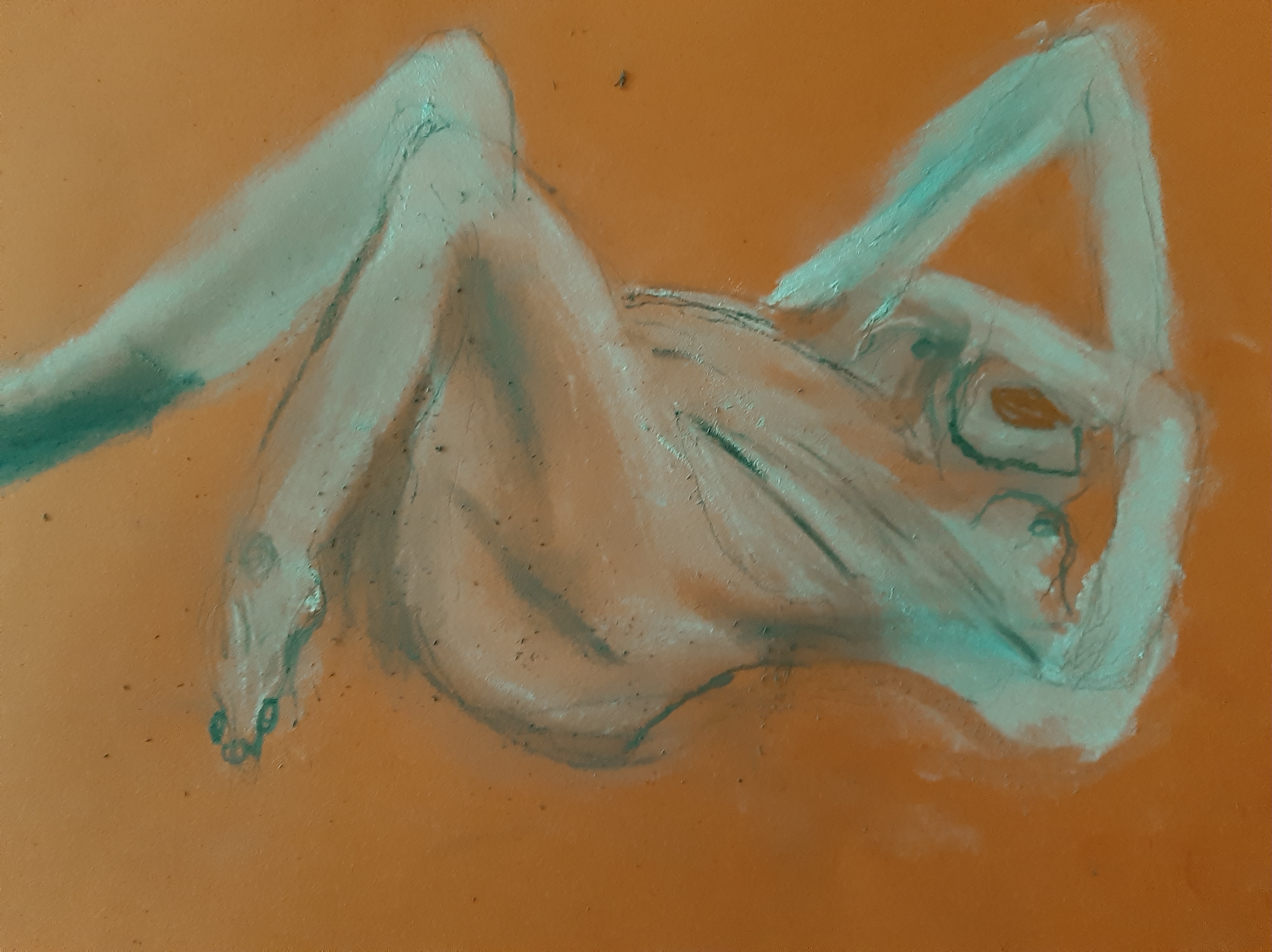 Pastel esquisse vert sur fond color�  cours de dessin