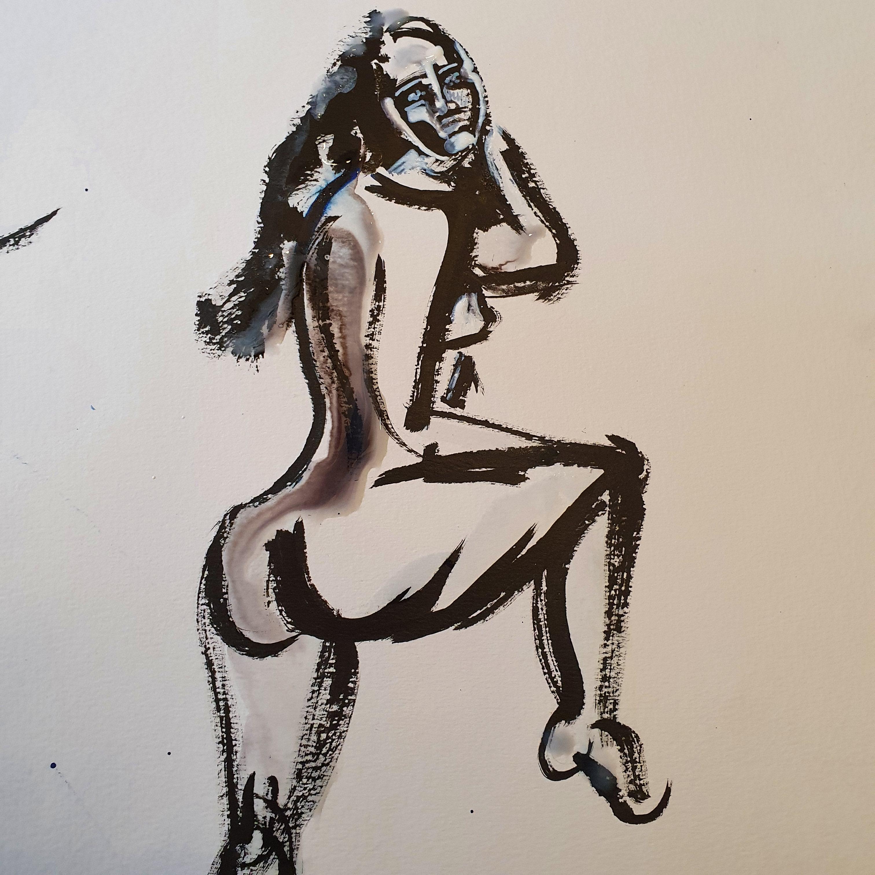 Peinture noir ray� hausse blanche masque femme trois quarts dos  cours de dessin