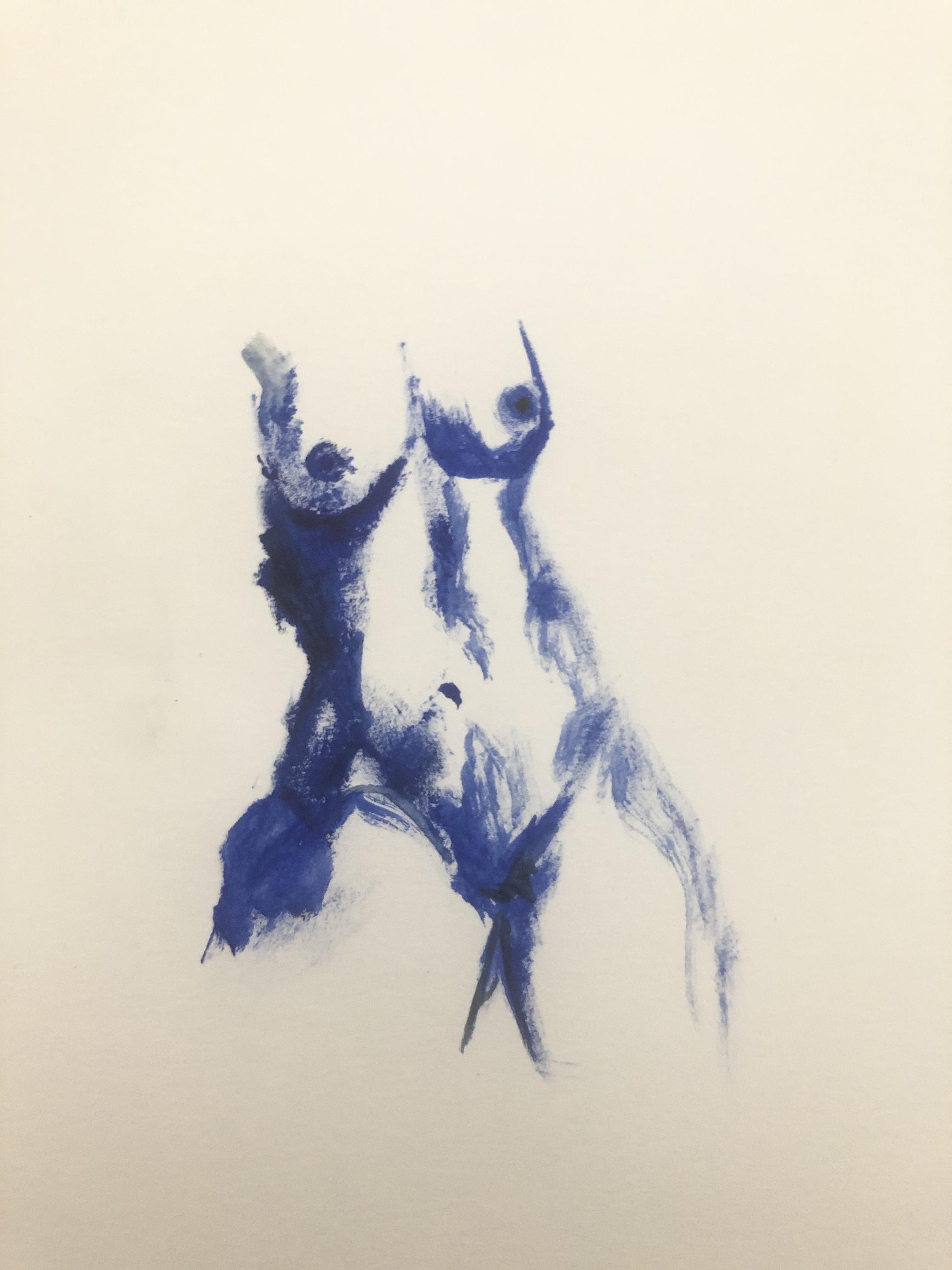 Buste femme bleu peinture  cours de dessin