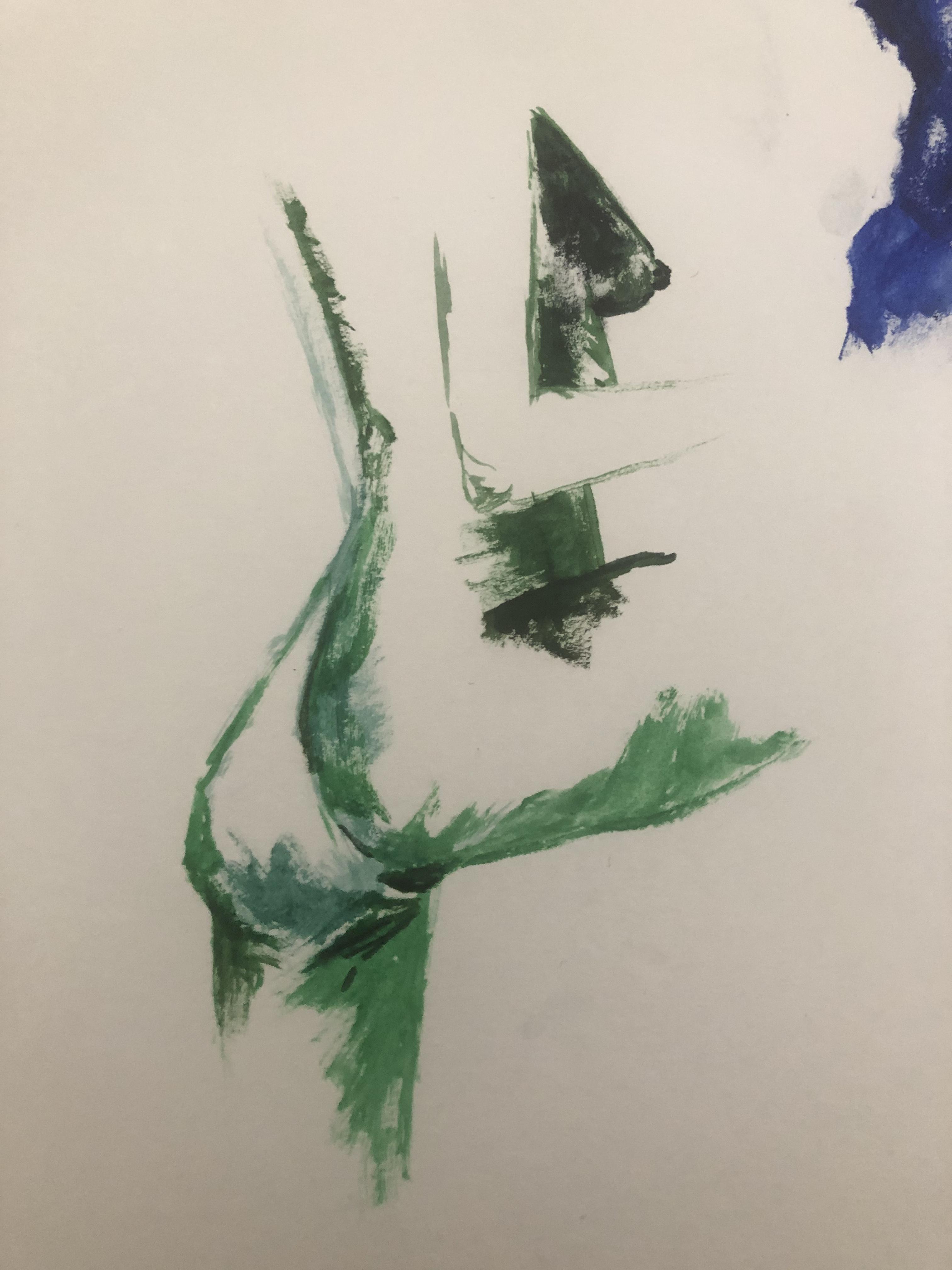 Peinture trois quarts dos vert  cours de dessin