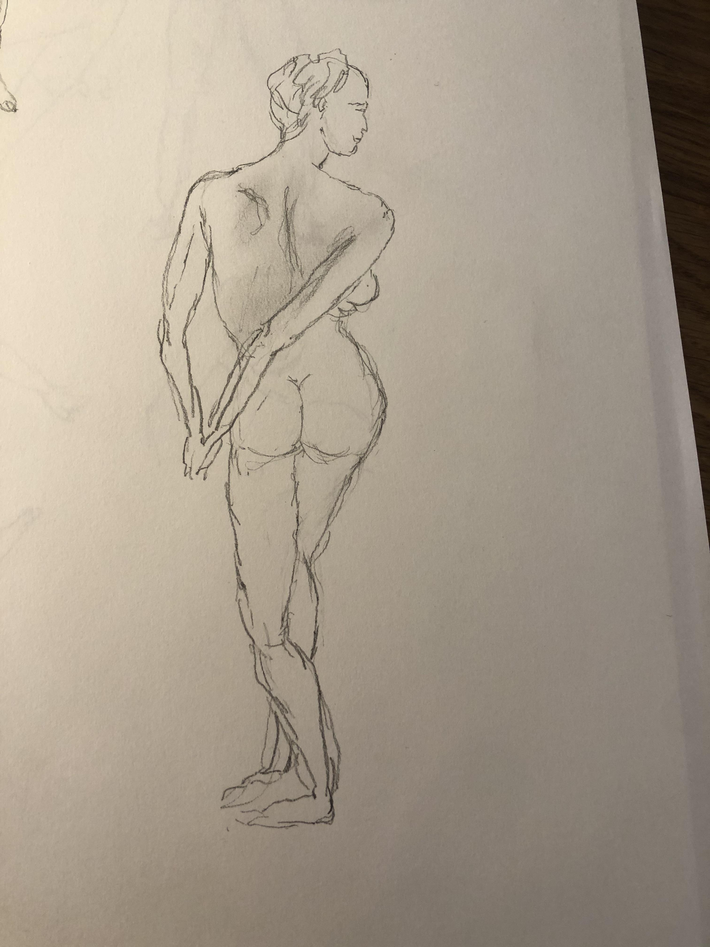 �tude dessin crayon papier dos femme  cours de dessin