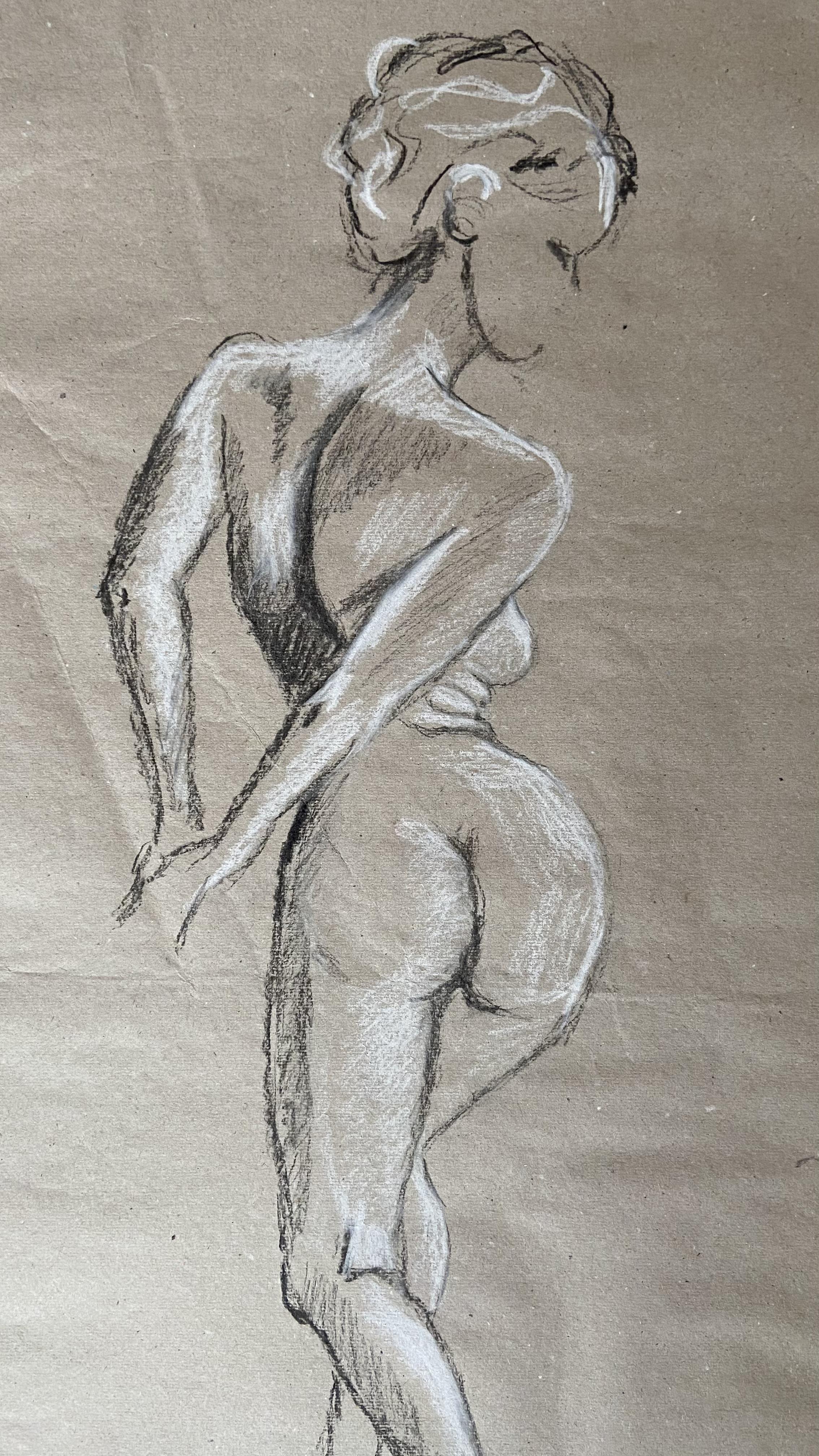 Dessin mod�le vivant Pierre noir craie blanche sur papier gris  cours de dessin