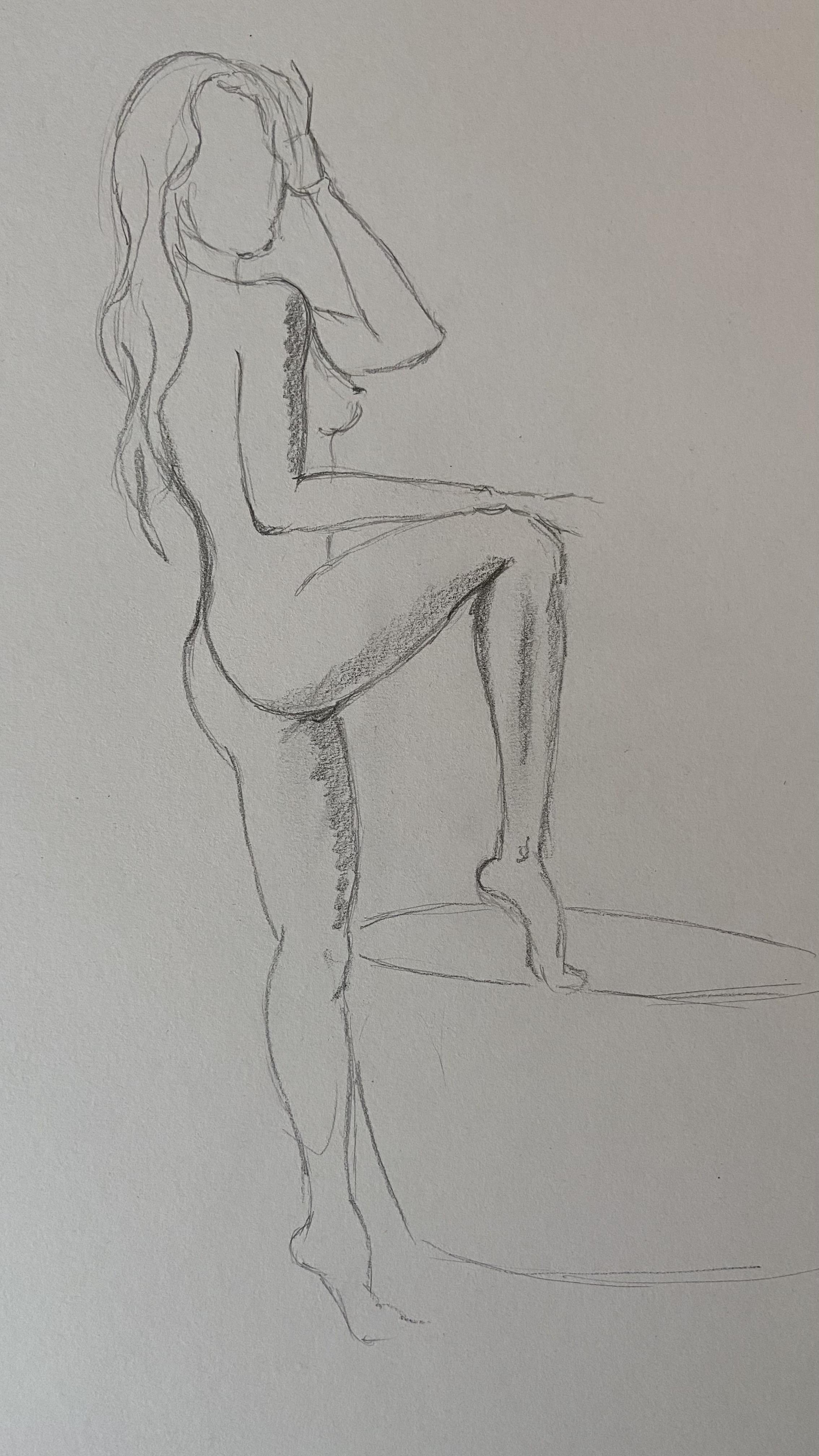Esquisse femme 3/4 dos crayon papier graphite  cours de dessin