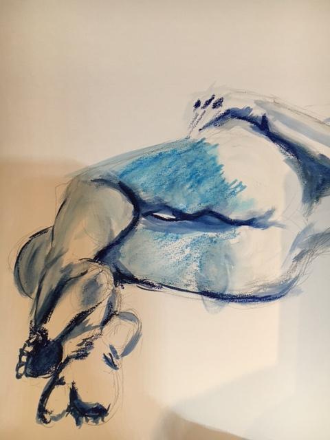 Croquis crayon de couleur aquarellis� bleu  cours de dessin