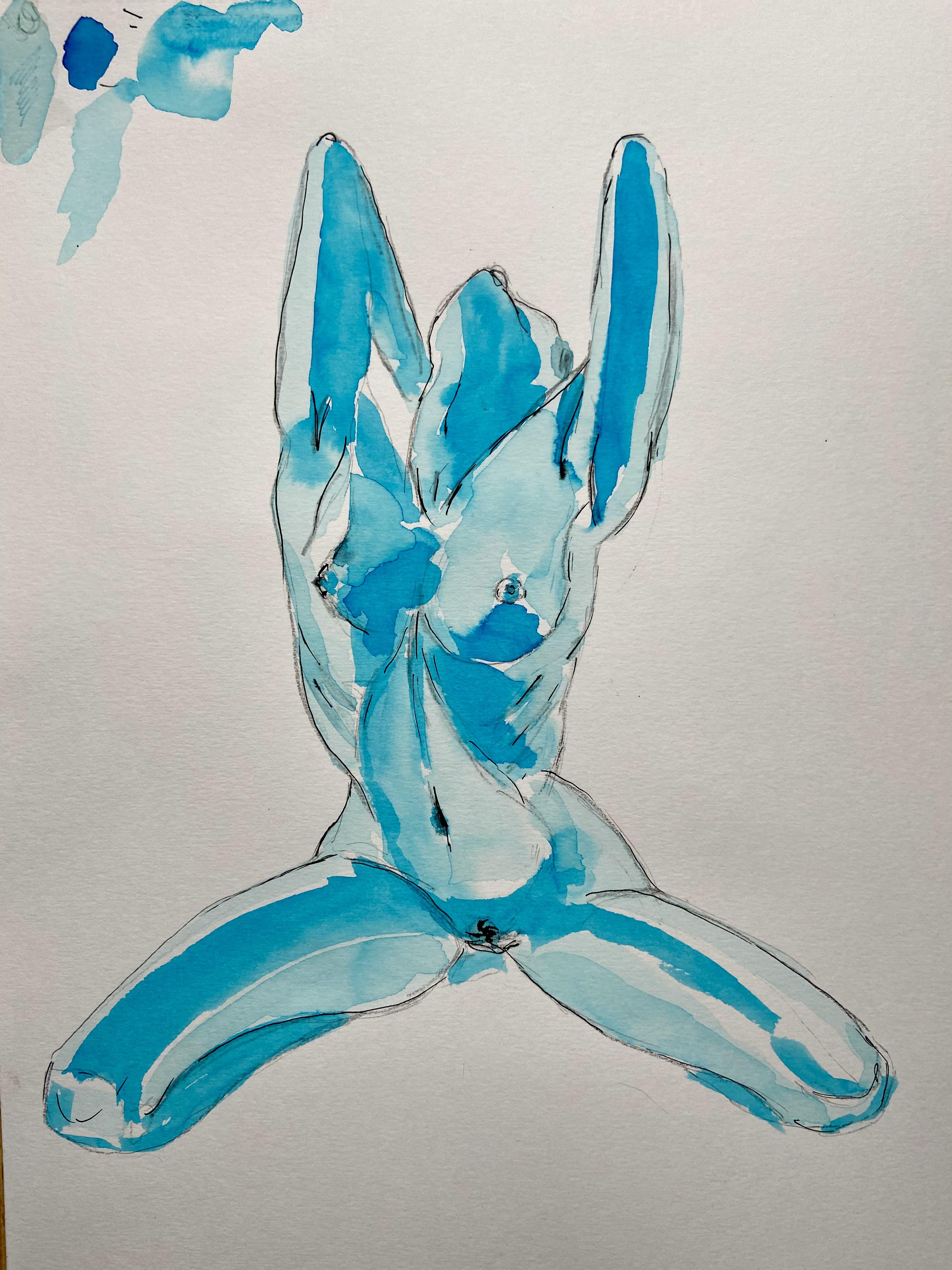 Croquis aquarelle bleu femme assise  cours de dessin