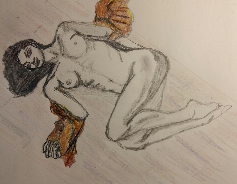 Dessin esquisse polychrome crayon de couleur femme allong�e  cours de dessin