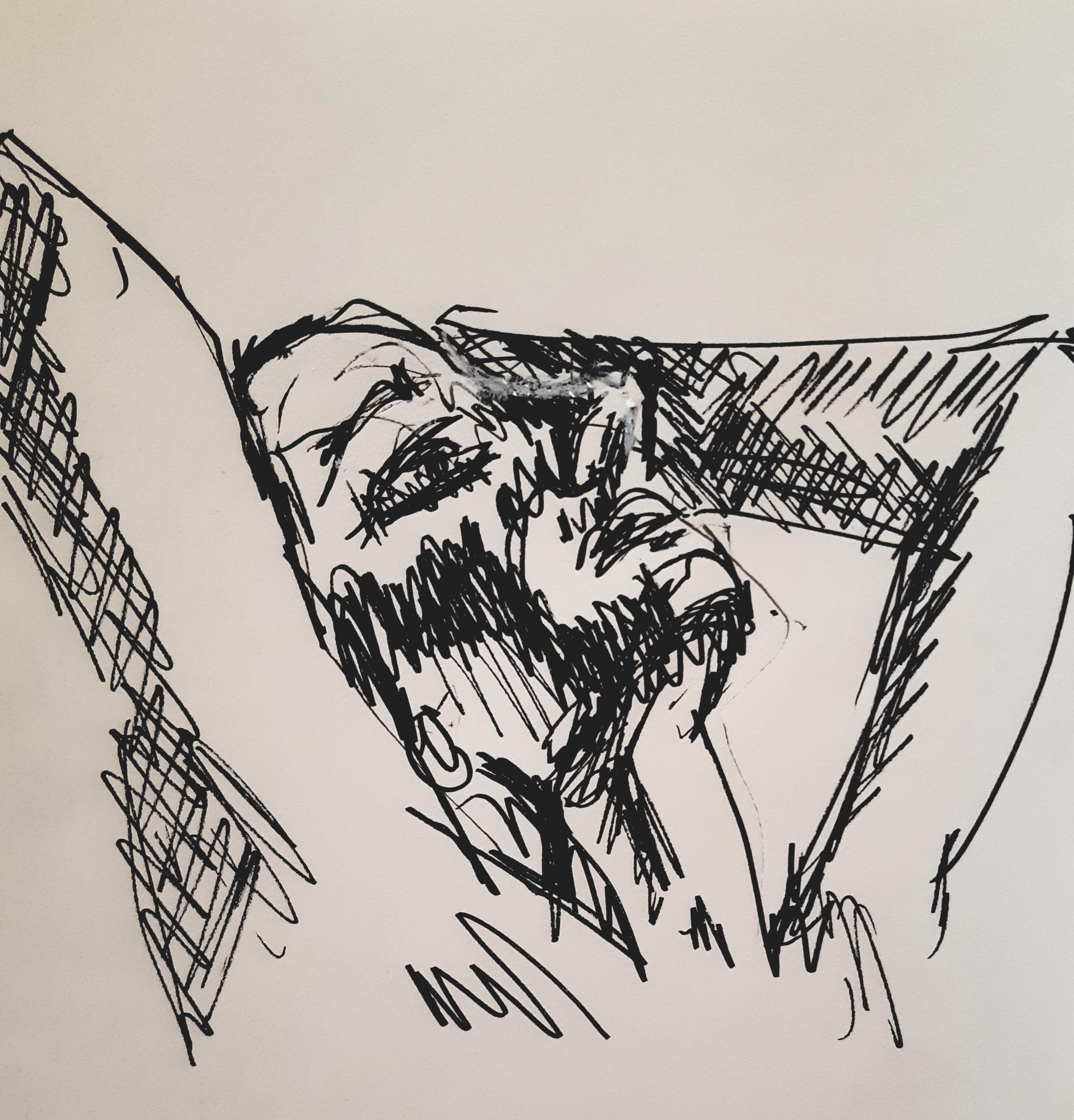 Portrait contre-plong�es feutre sur papier  cours de dessin