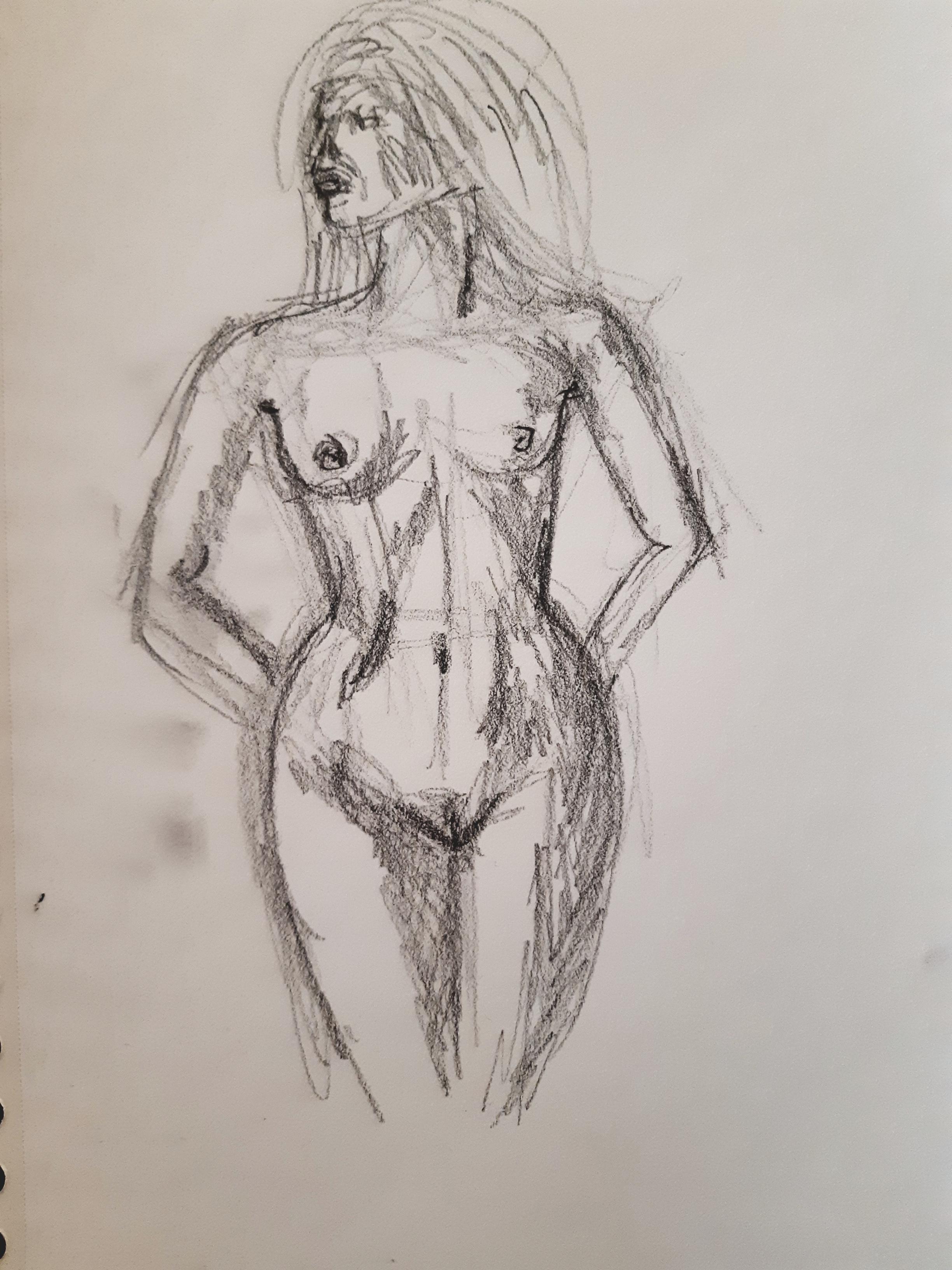Dessin crayon papier hachures femme buste face  cours de dessin