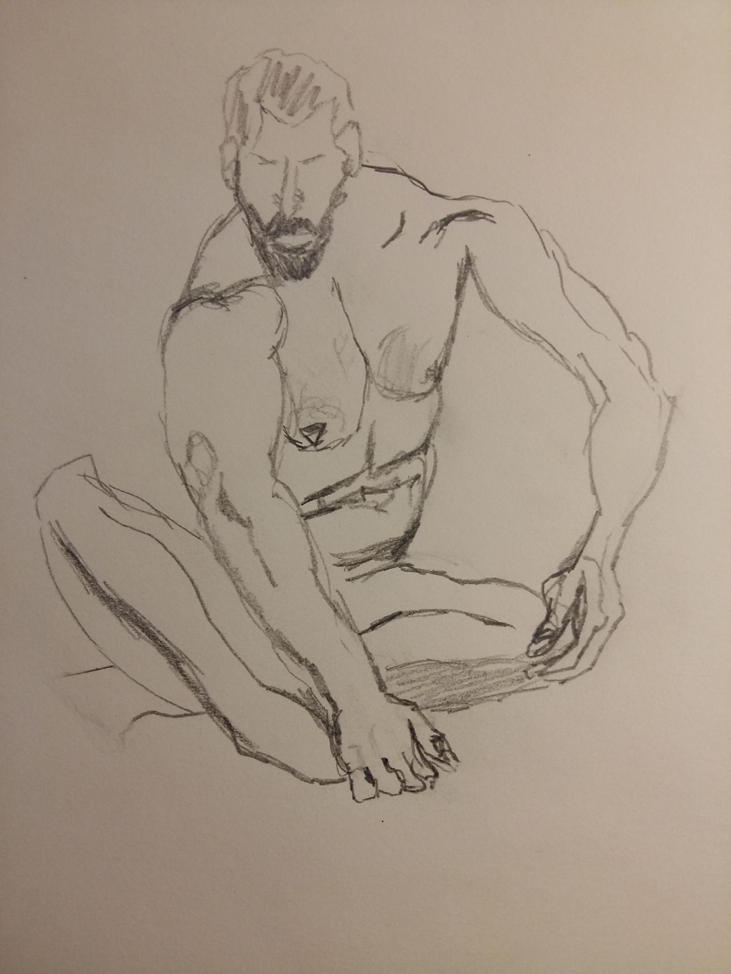 Dessin au trait graphique sur papier homme assit face  cours de dessin